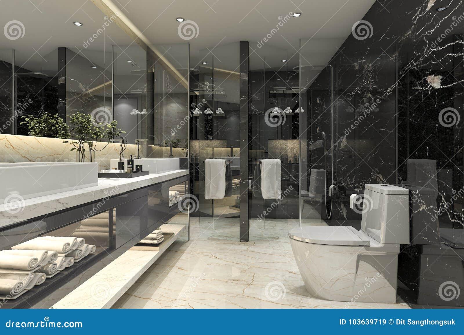 3d Das Modernes Schwarzes Badezimmer Mit Luxusfliesendekor