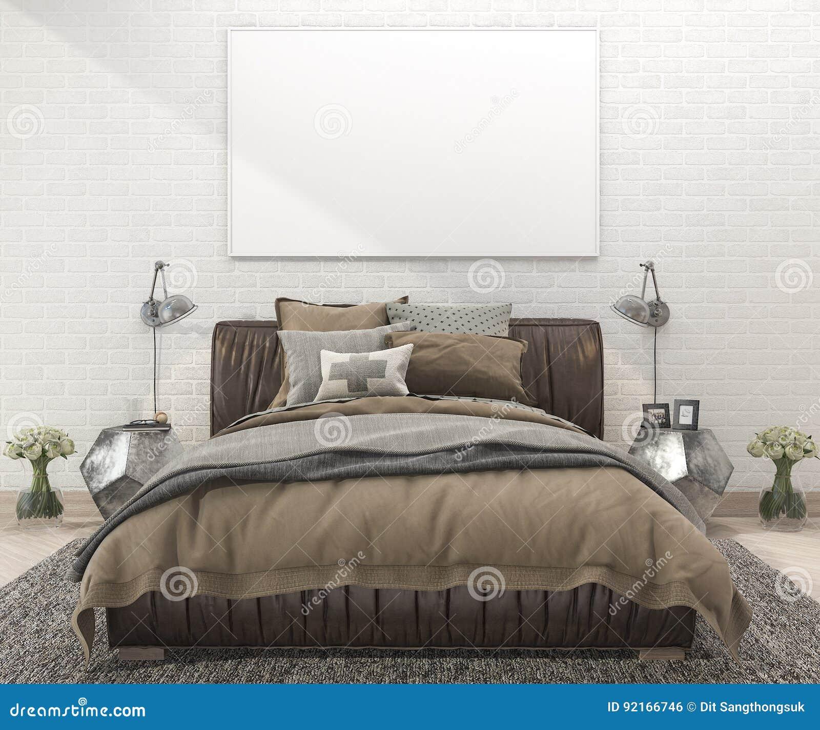 3d, Das Retro- Braunes Bett Im Schlafzimmer Mit ...