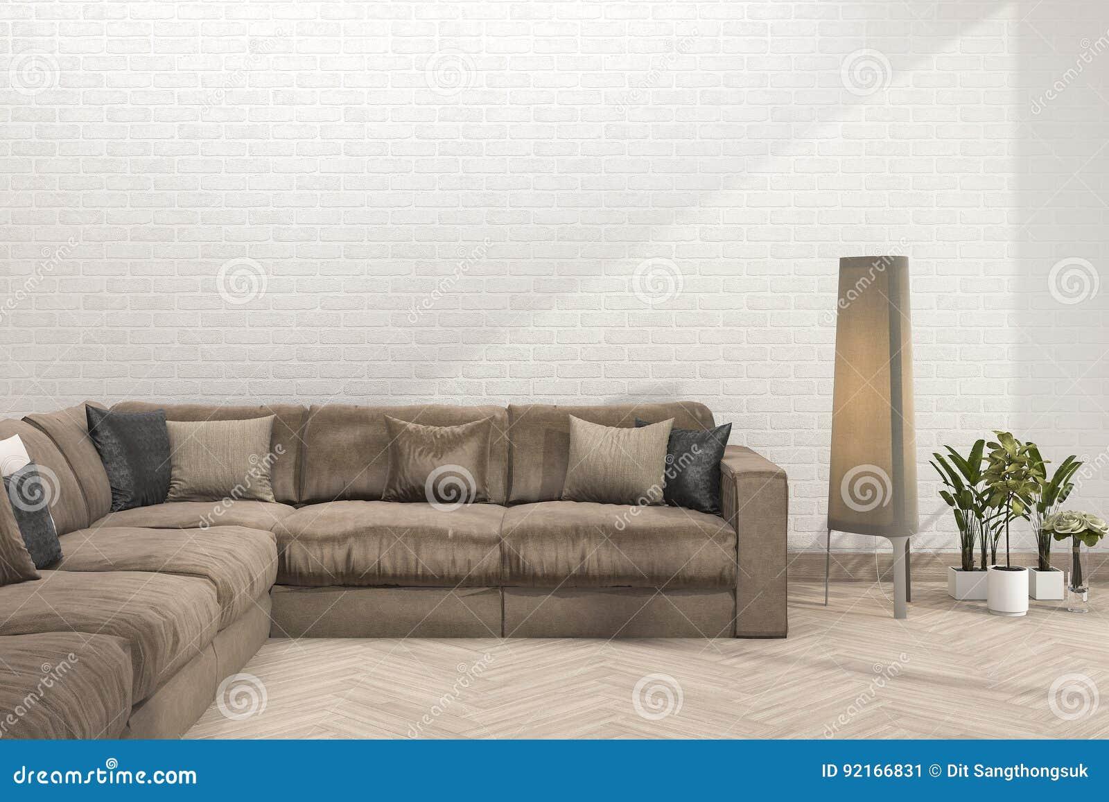 3d Das Retro Braunes Sofa Im Minimalen Wohnzimmer Mit
