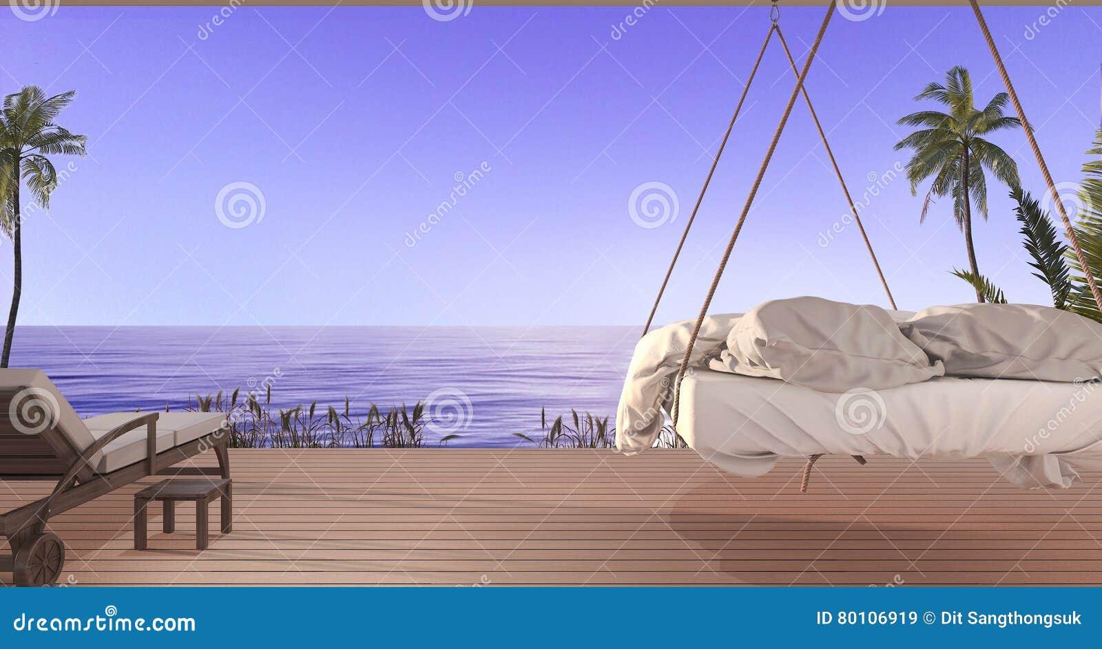 Schön Hängendes Bett Beste Wahl 3d, Das Schönes Hängendes Auf Terrasse Nahe