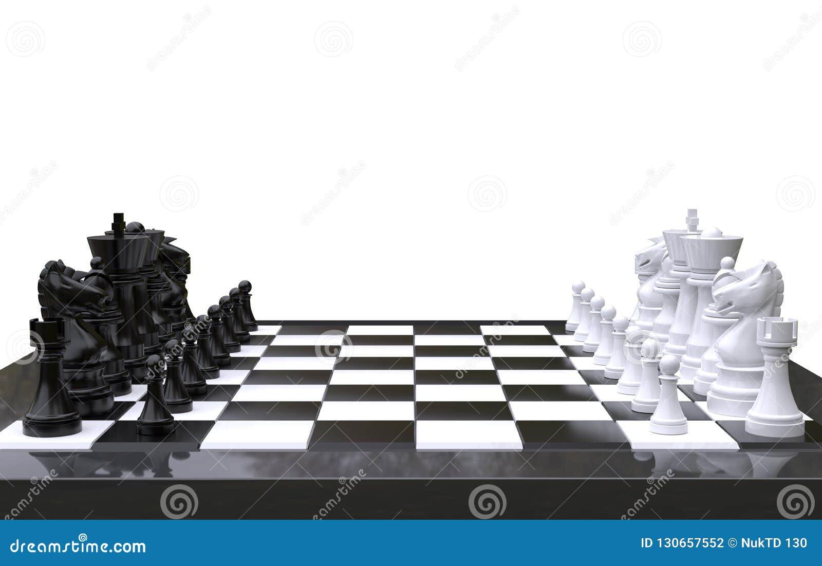 3d, das Schach auf einem Schachbrett, lokalisierten weißen Hintergrund überträgt