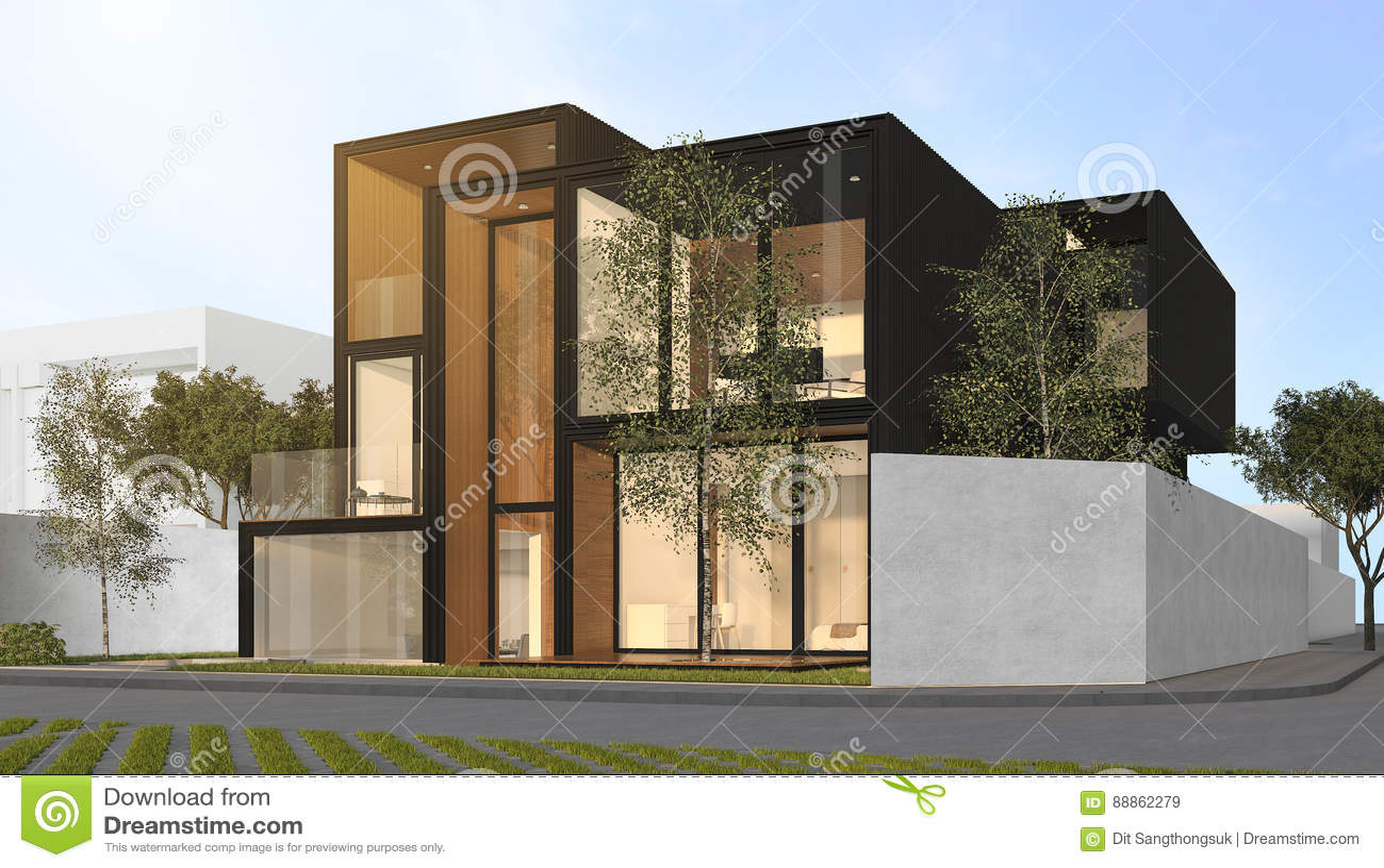 3d, Das Schwarzes Modernes Haus überträgt Stock Abbildung ...