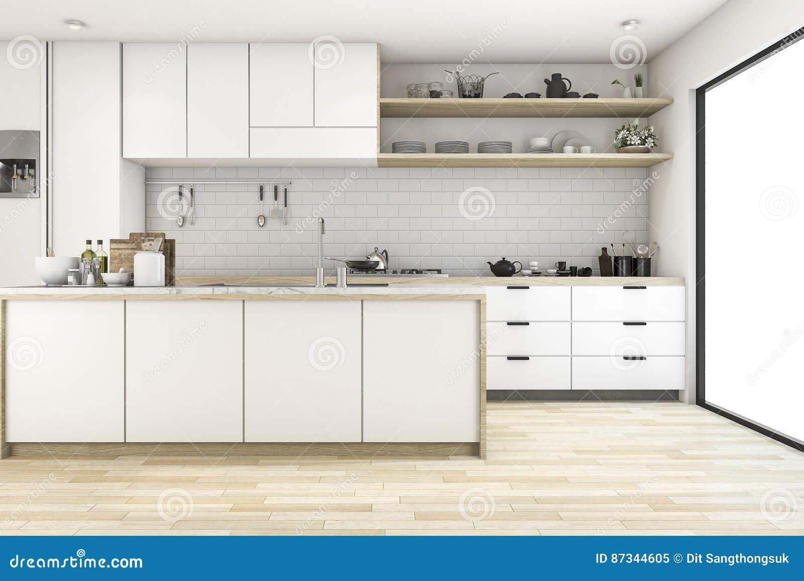 3d, Das Skandinavische Küche Mit Weißem Tondesign überträgt Stock ...