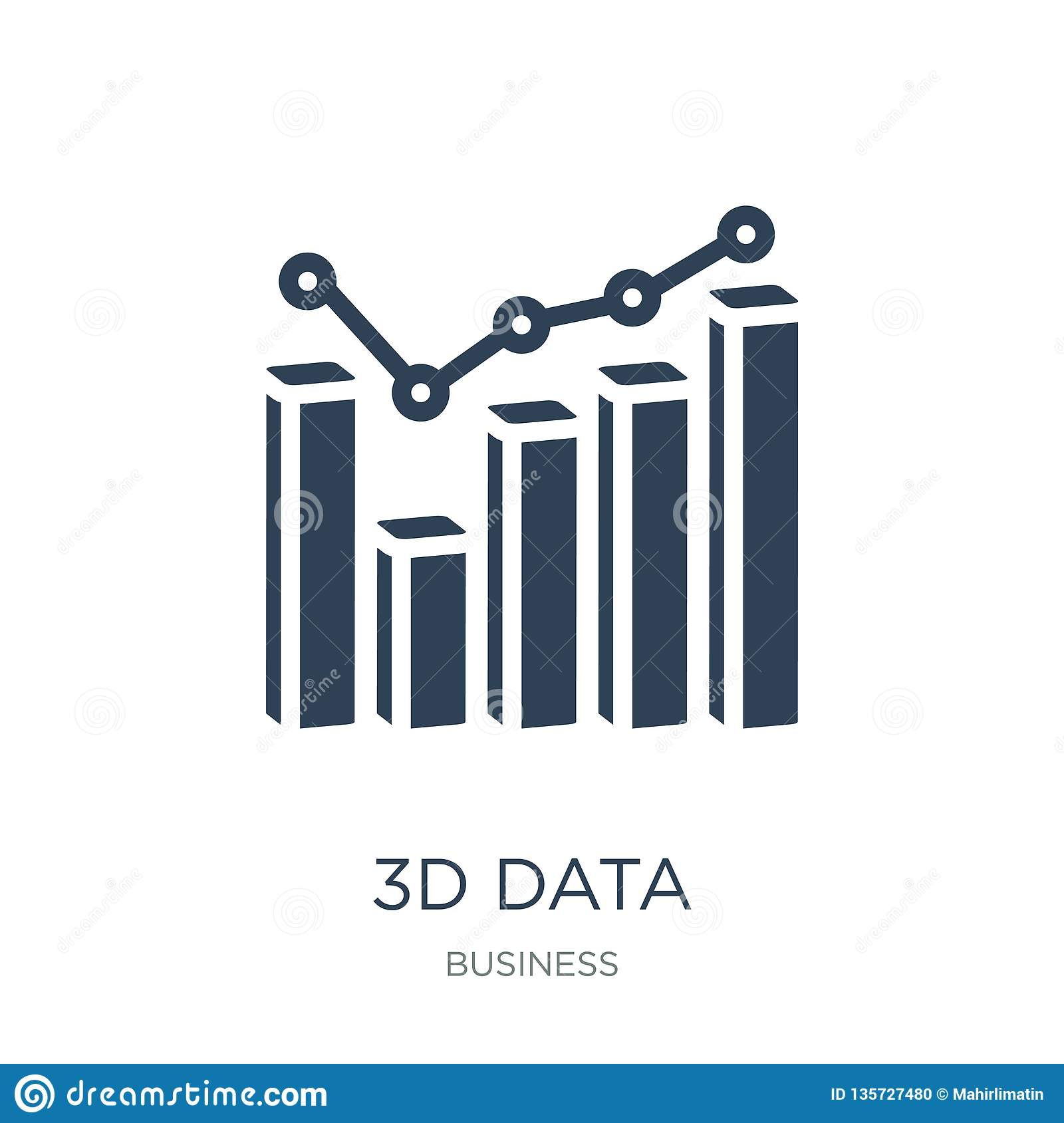 3d data analytics bars graphic icon in trendy design style. 3d data analytics bars graphic icon isolated on white background. 3d