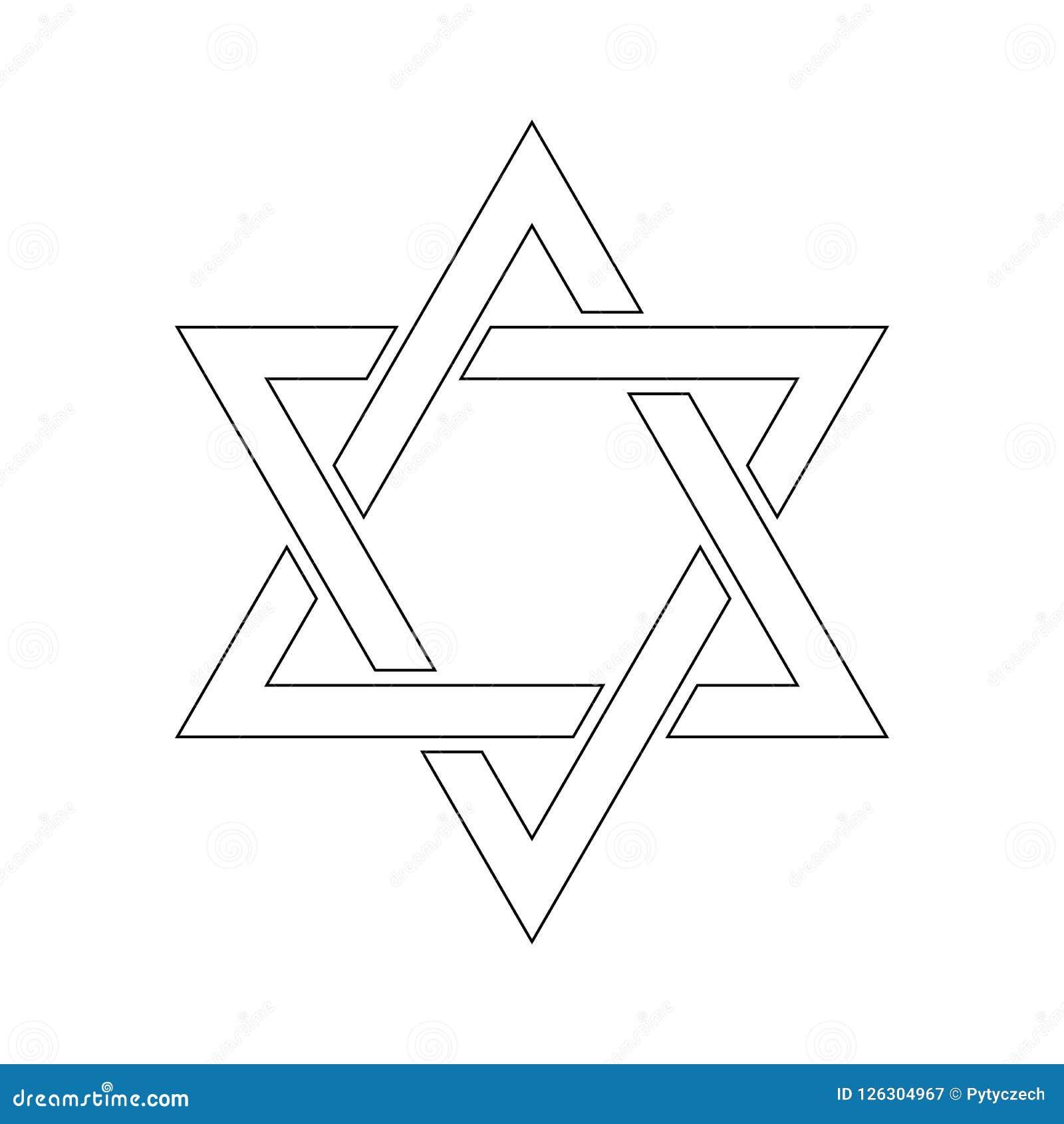 3d David ilustraci gwiazda Hexagram znak Symbol Żydowska tożsamość i judaizm Prosta płaska biała ilustracja z cienkim czernią