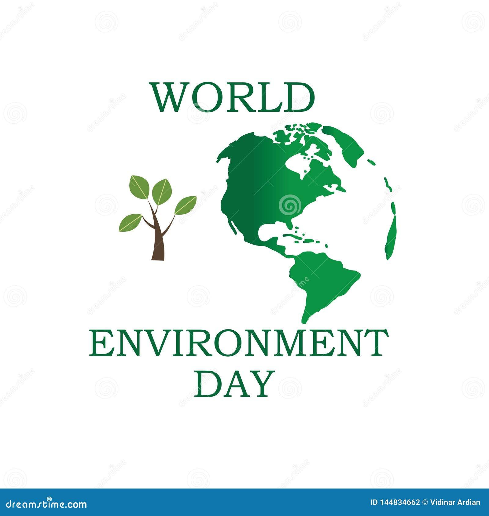 D?a de ambiente de mundo Concepto del d?a del ambiente mundial Tierra verde de Eco Ejemplo del vector del d?a del ambiente mundia
