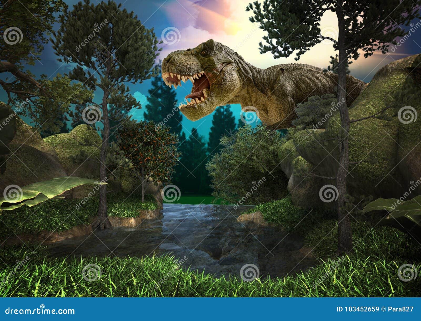 3D de dinosaurus geeft terug