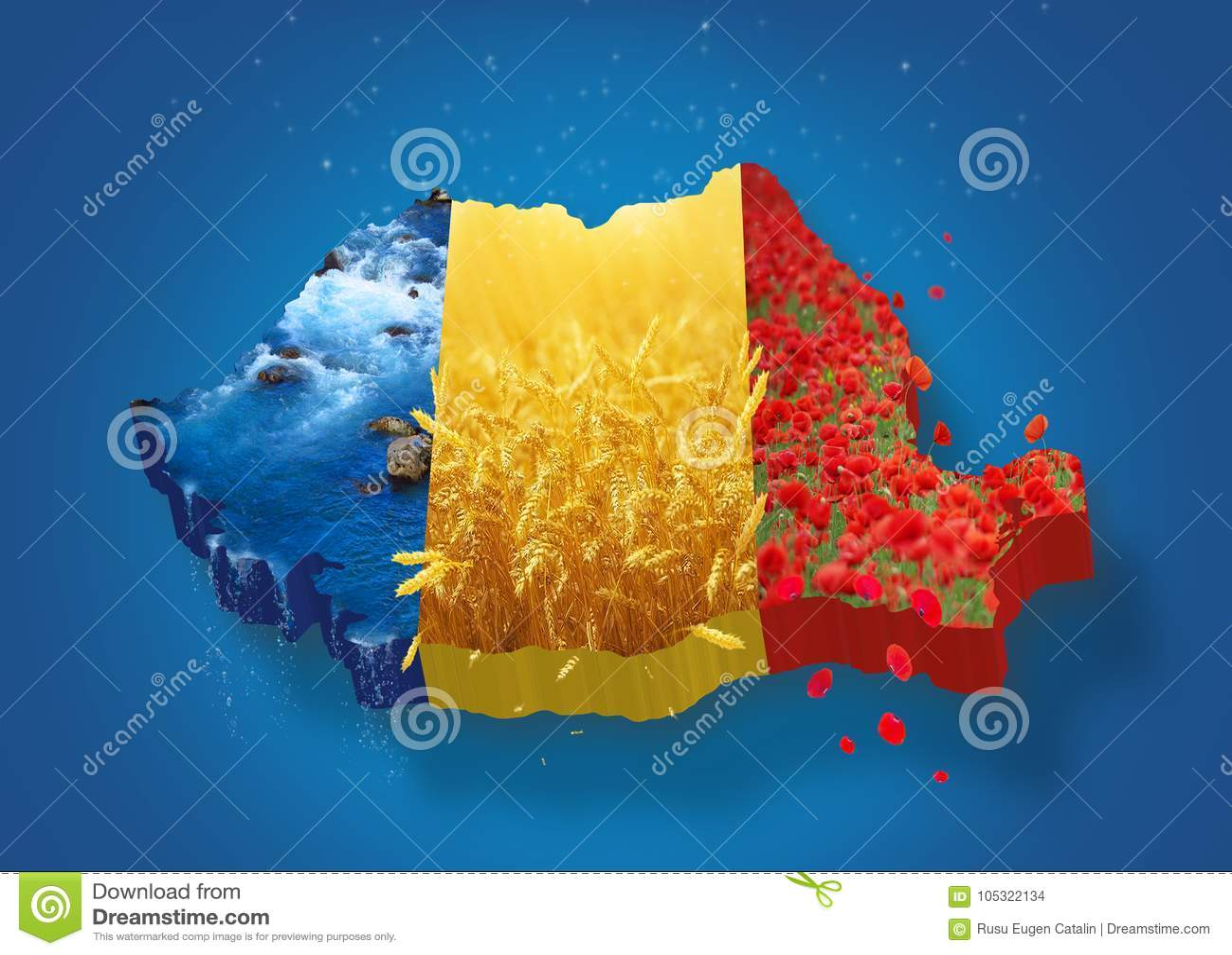 3D de kaart van Roemenië