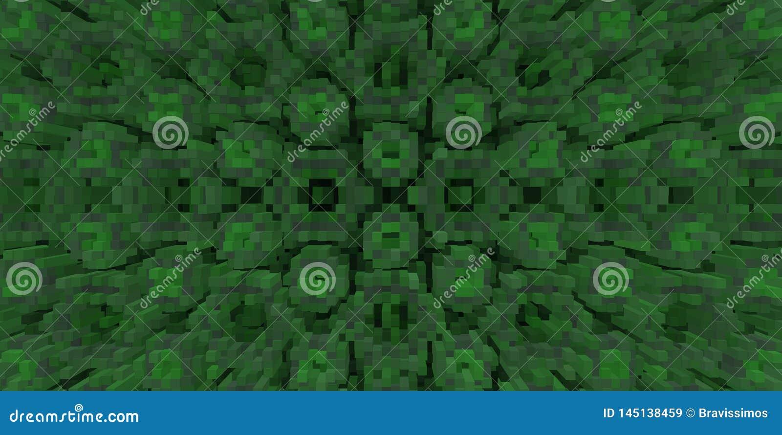 3d de kubus drijft symmetrieachtergrond uit, geeft de meetkunde terug