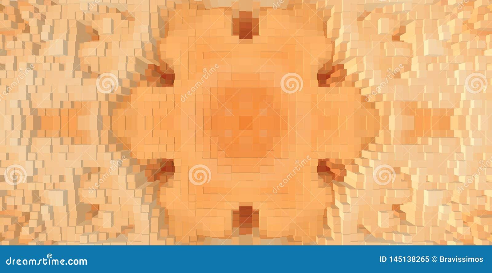 3d de kubus drijft symmetrieachtergrond uit, herhaalt de textuur