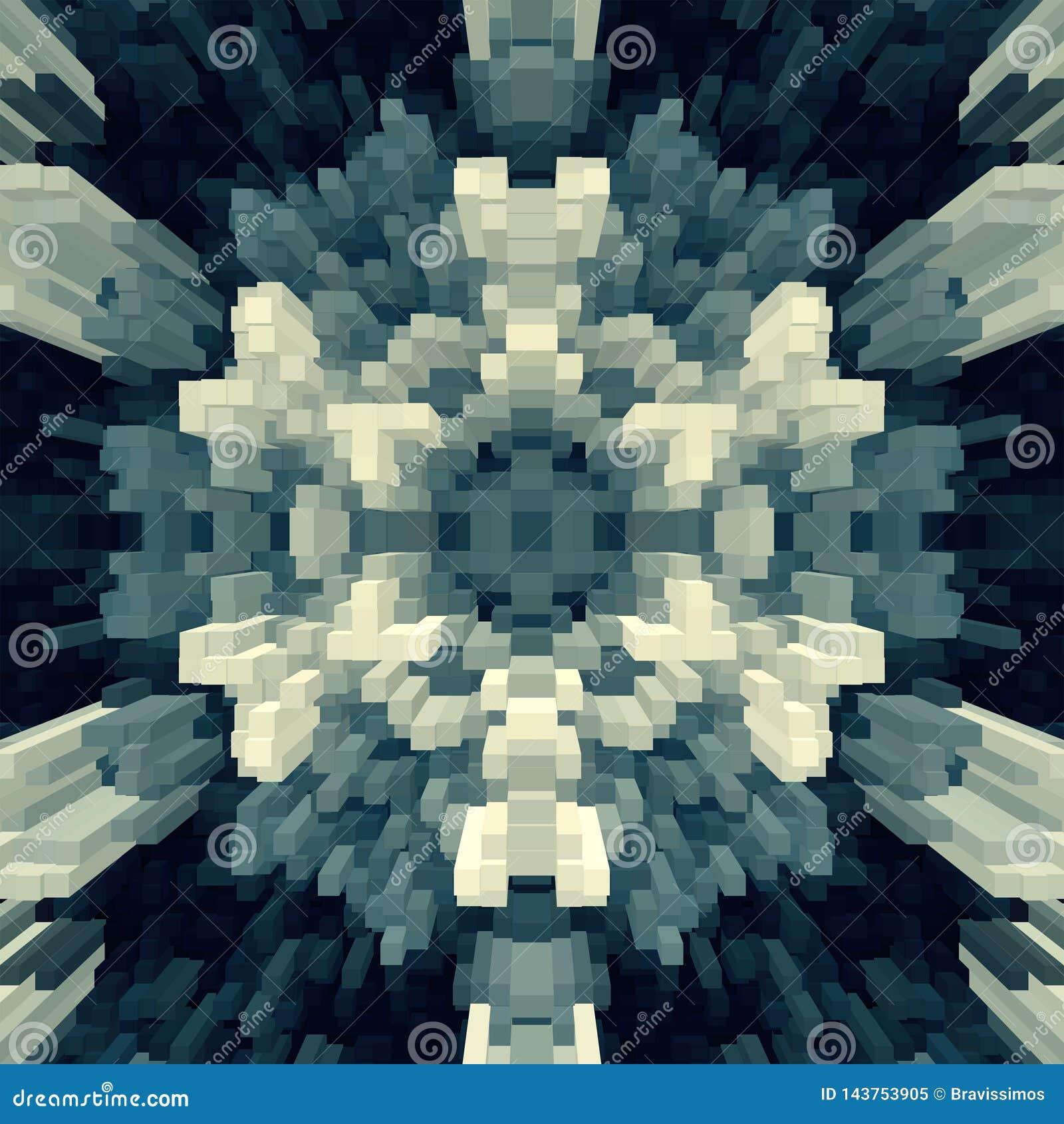 3d de kubus drijft symmetrieachtergrond uit, teruggeeft eenvoudig