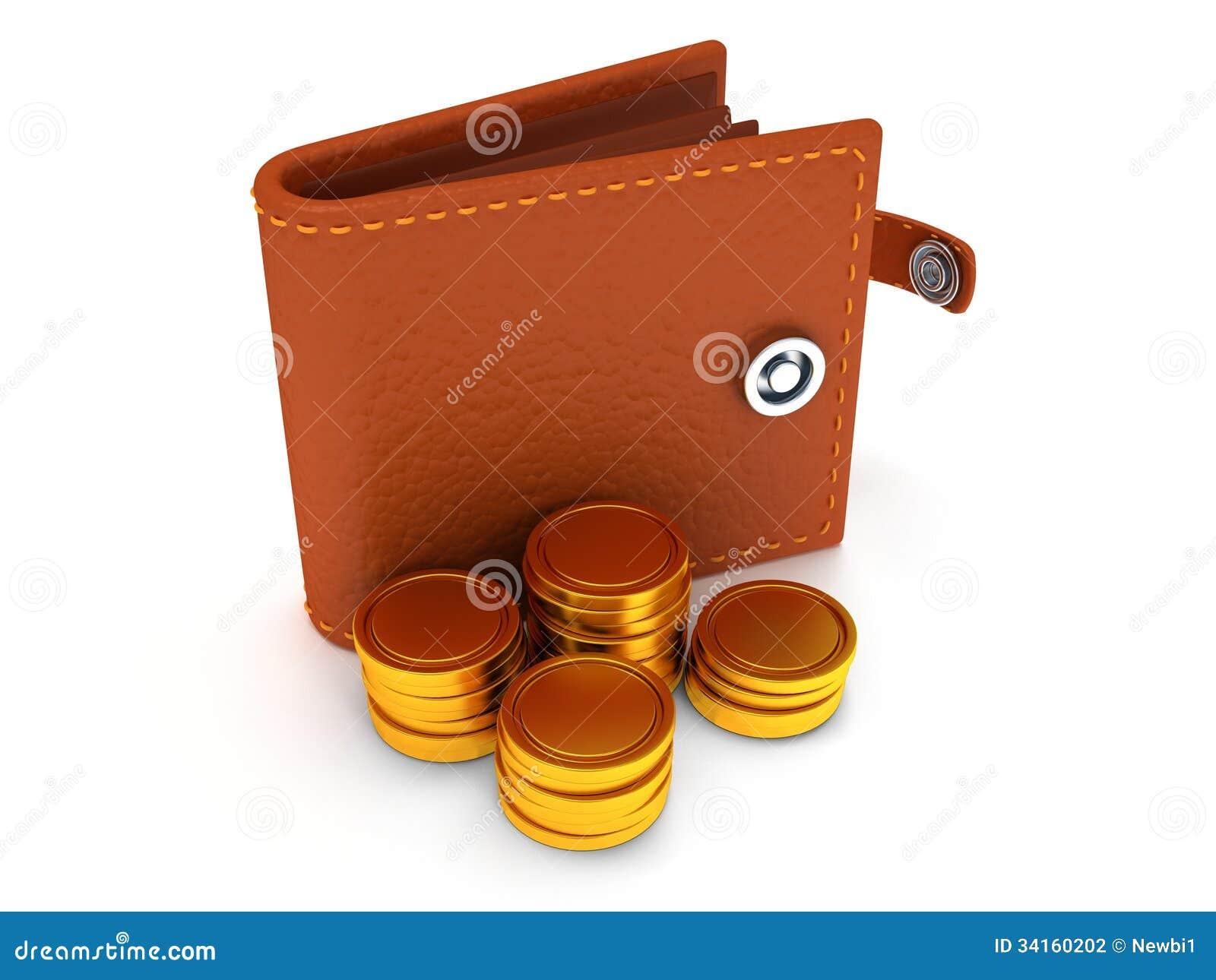 3d de portefeuille et de pièces de monnaie en cuir ouverts sur le blanc