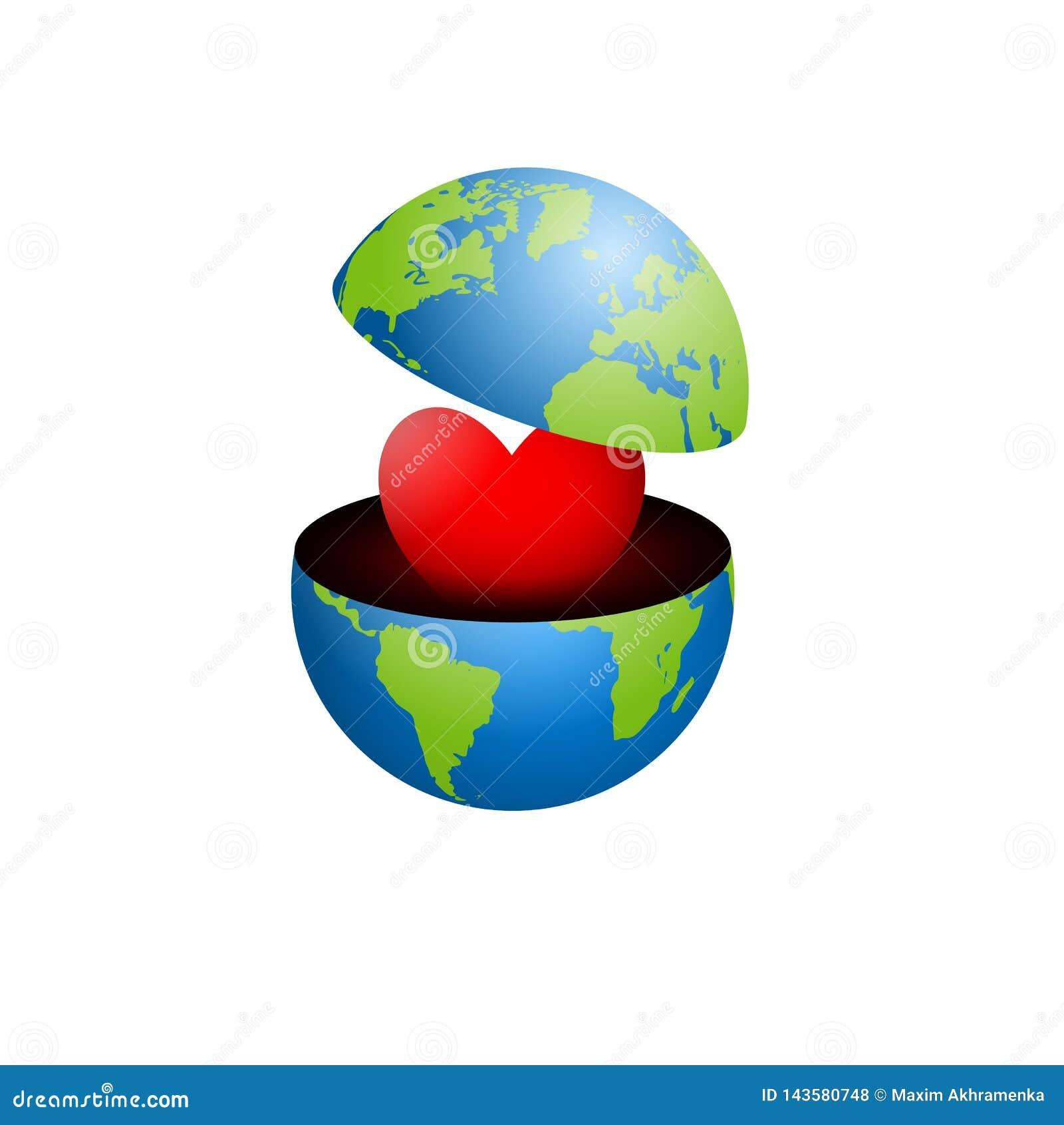 D?a de tierra La tierra se abre por la mitad dos que muestran el interior del corazón