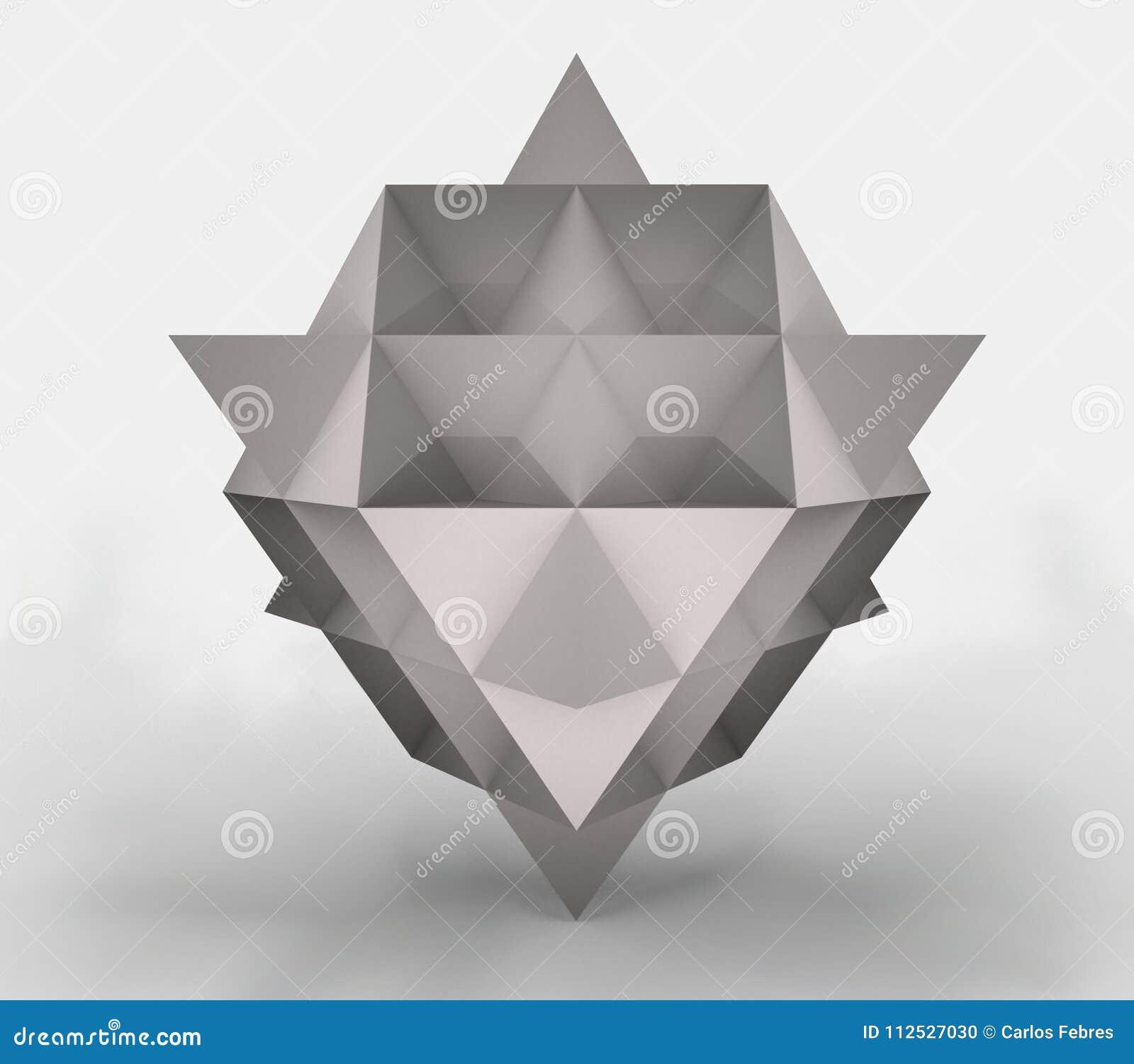 3d de un tetraedro hecho del papel, representación 3d