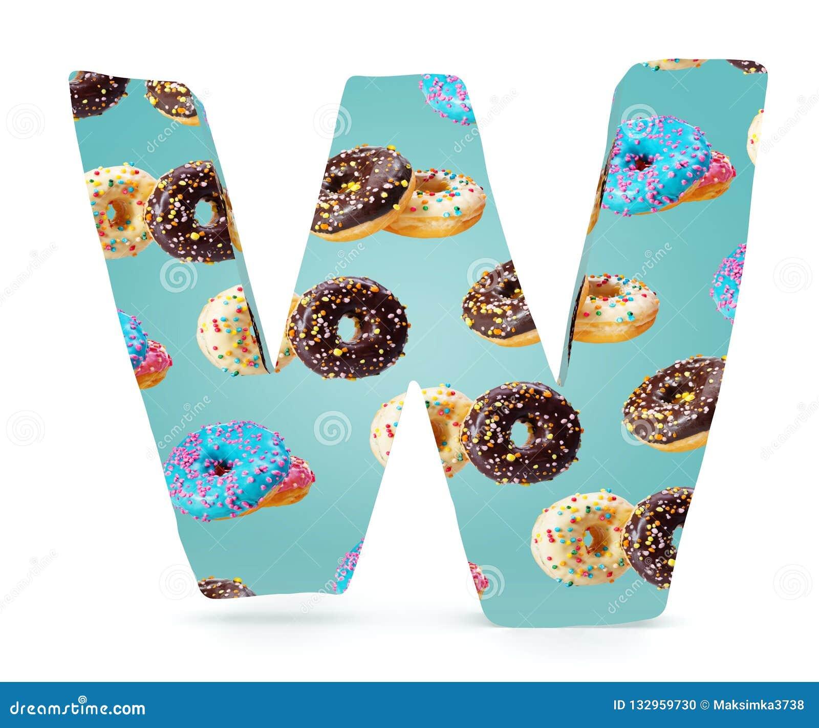 3D decoratief Alfabet, hoofdletterw gebruikt patroon van donuts