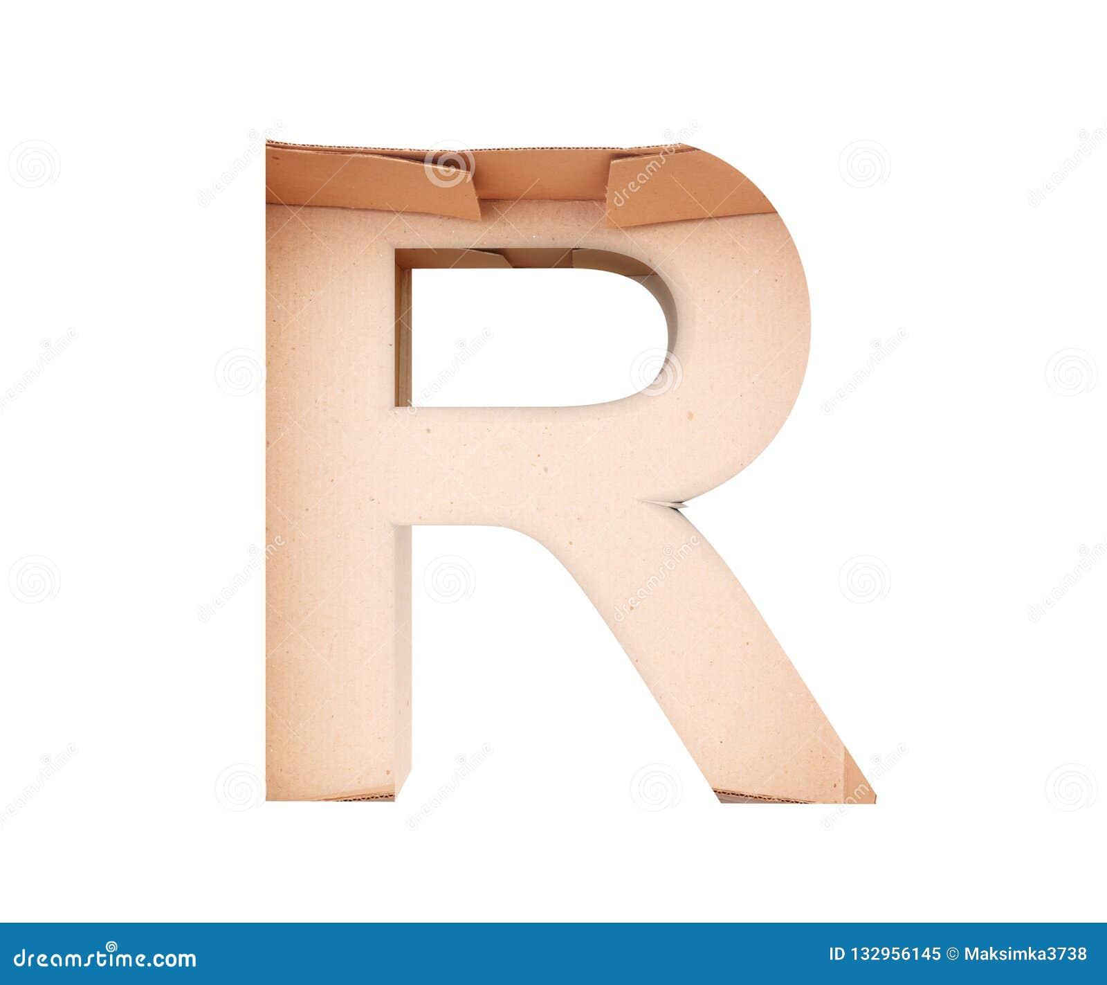 3D decorative Alphabet From cardboard box, capital letter R.
