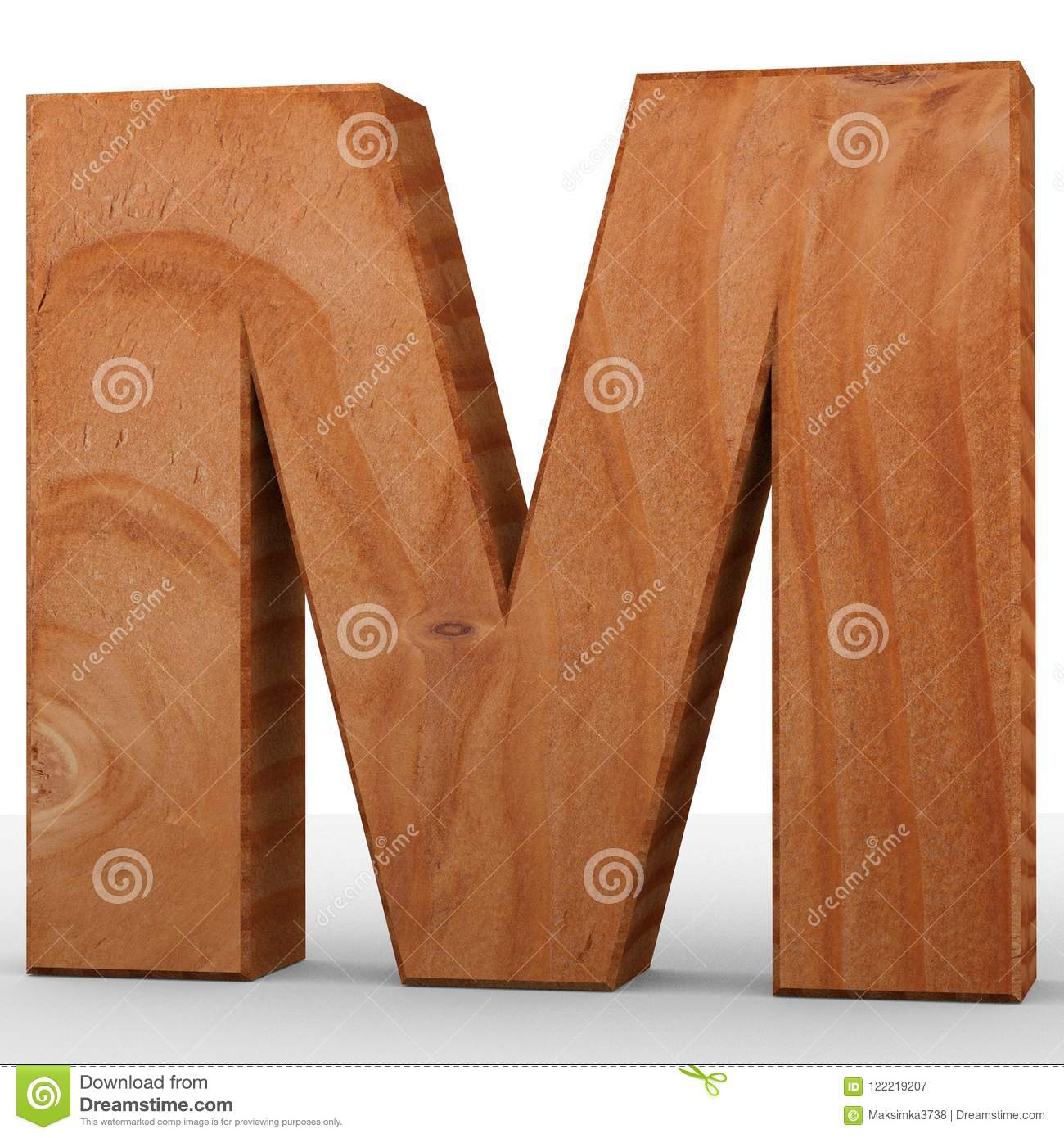 3d decorative wooden alphabet capital letter m stock illustration