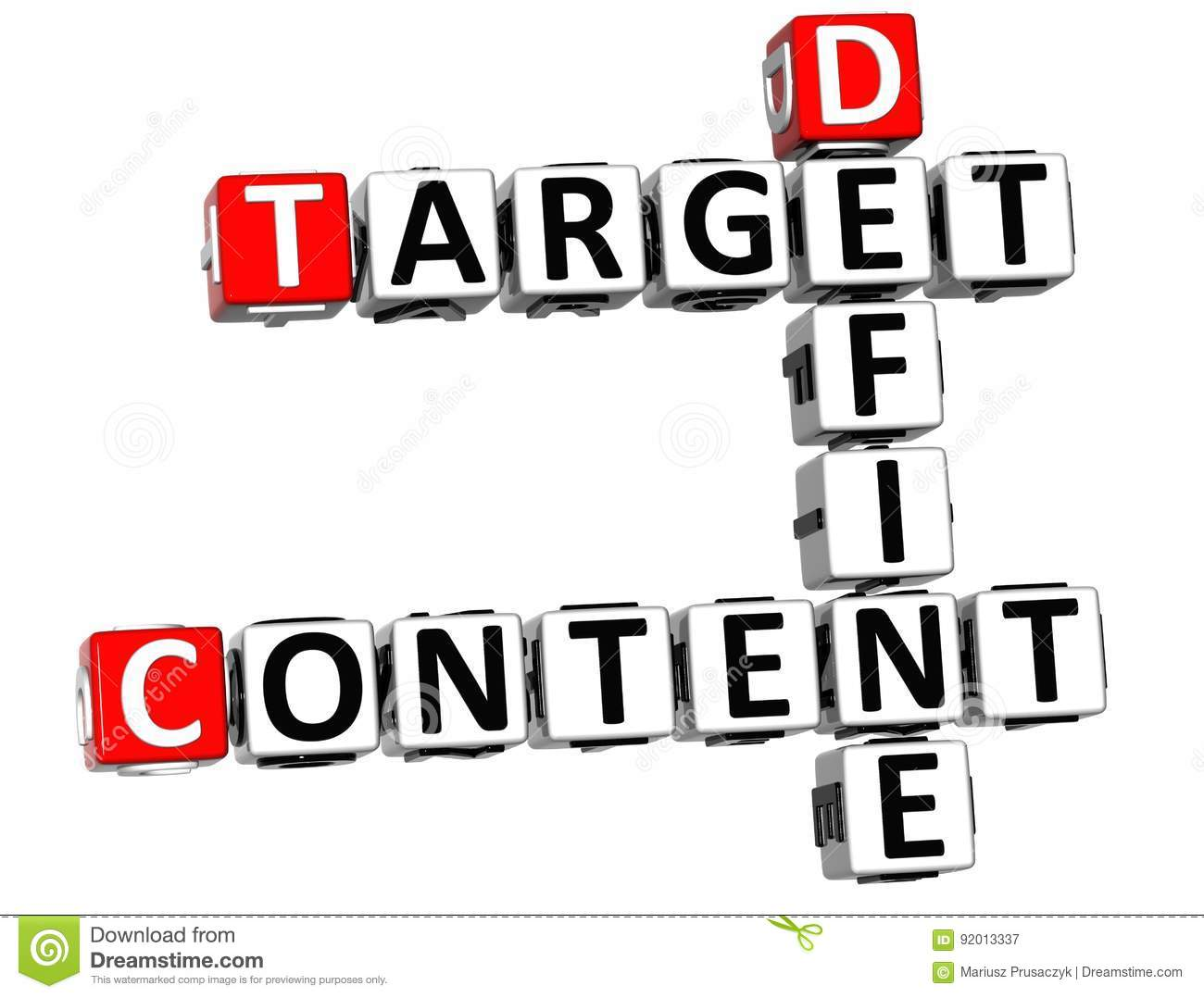 D Define Target Content Crossword On White Background