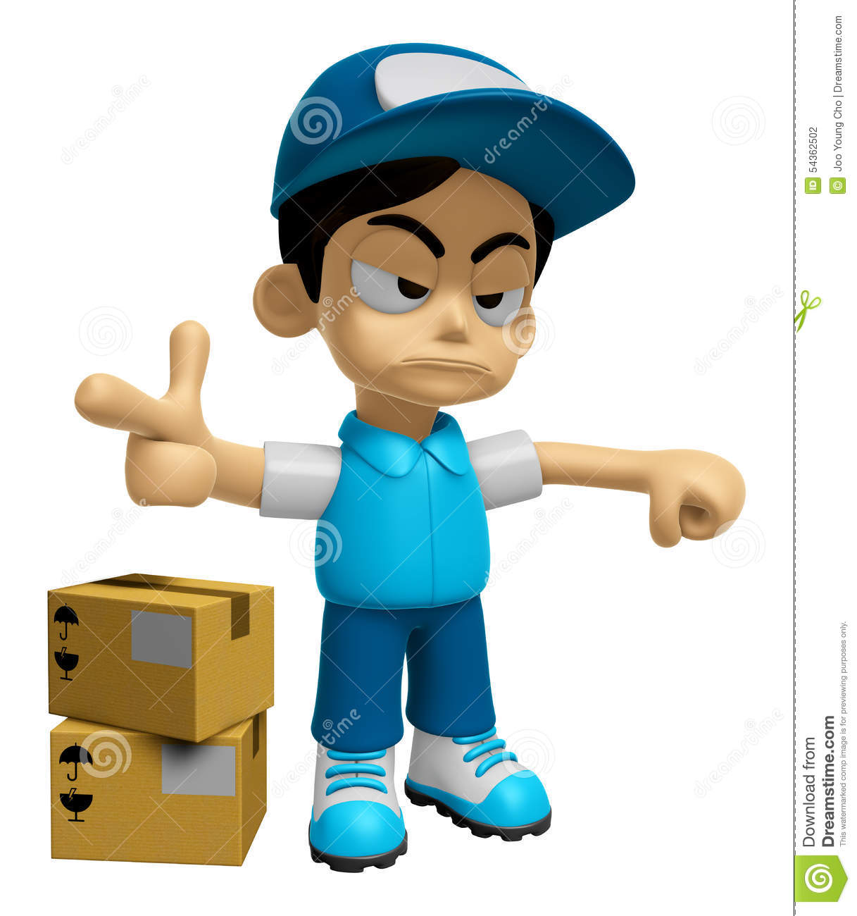 3d delivery service man mascot is rap out a complaint for Character designer job