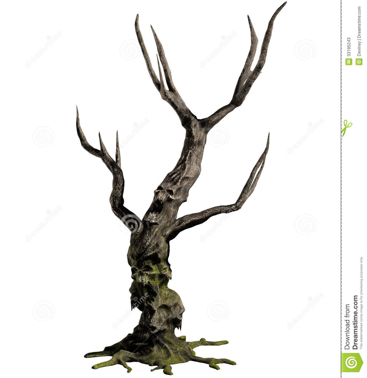 3D illustration of a demon tree with an embedded skull isolated on ...