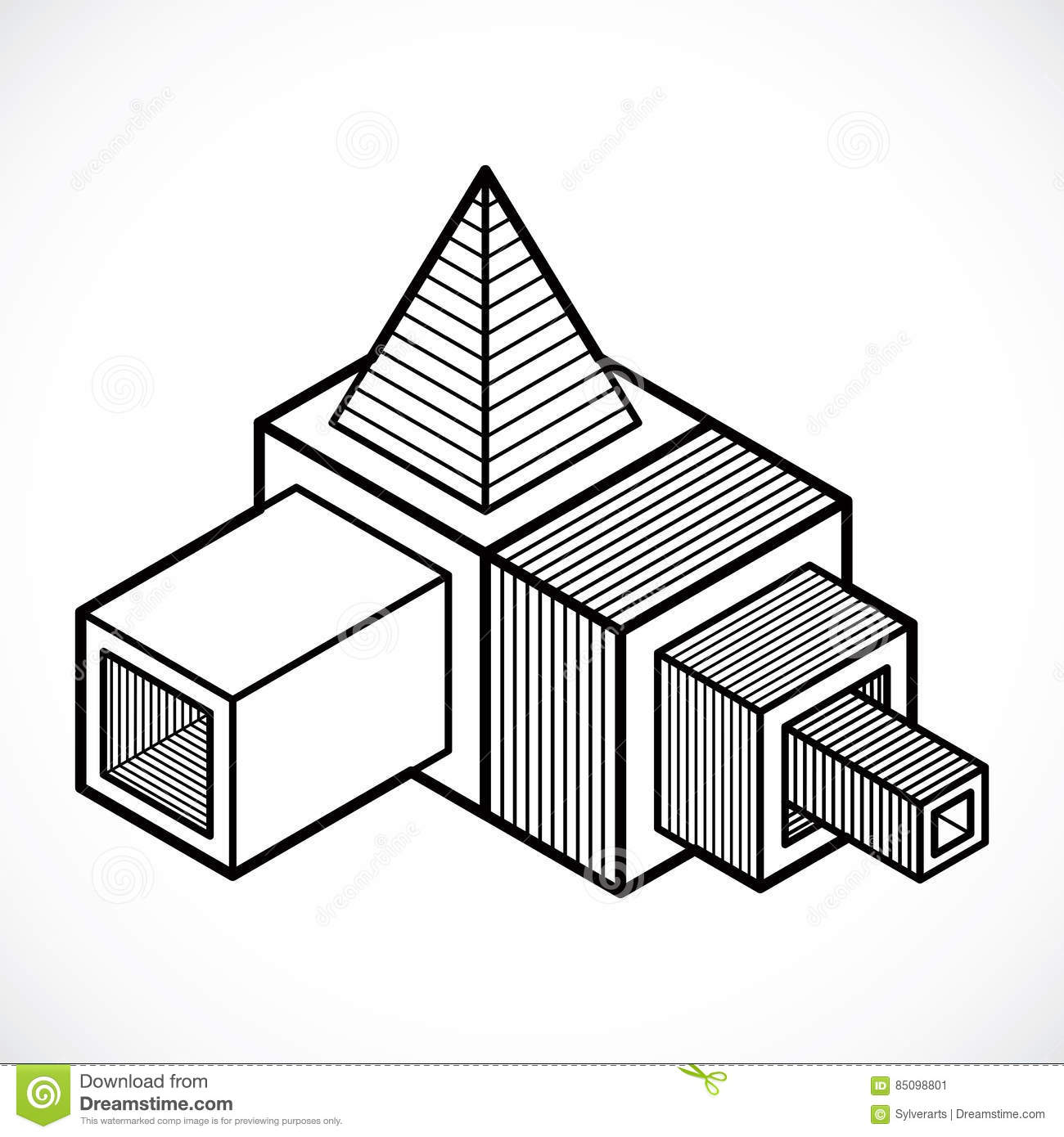 3D Design, Abstract Vector Cube Shape. Stock Vector - Illustration ... for 3d Geometric Shapes Drawings  257ylc