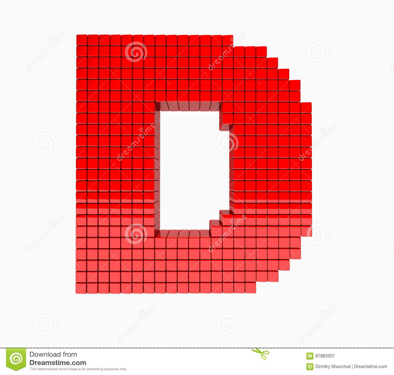 3D design the English alphabet red letter
