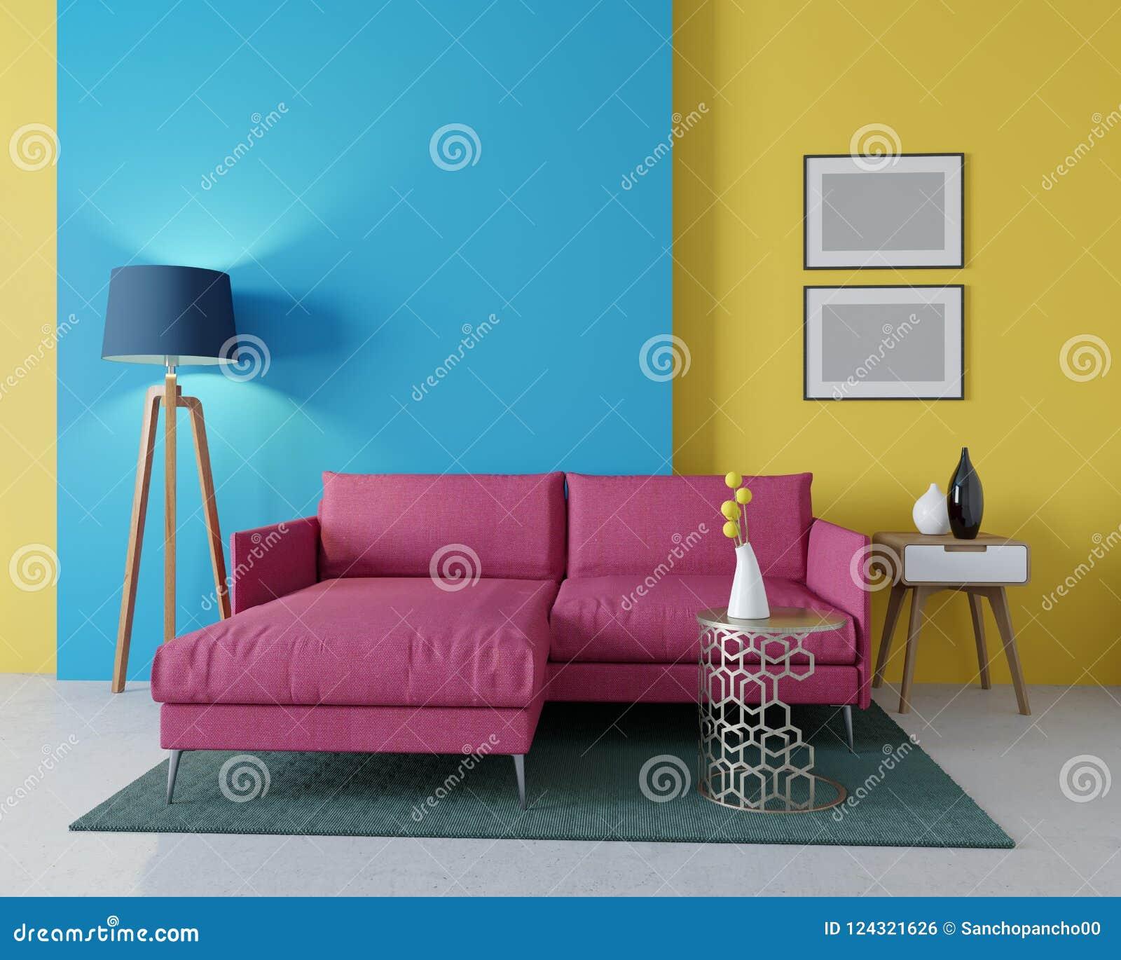 3d Design Of A Modern Living Room Corner Burgundy Sofa Stock