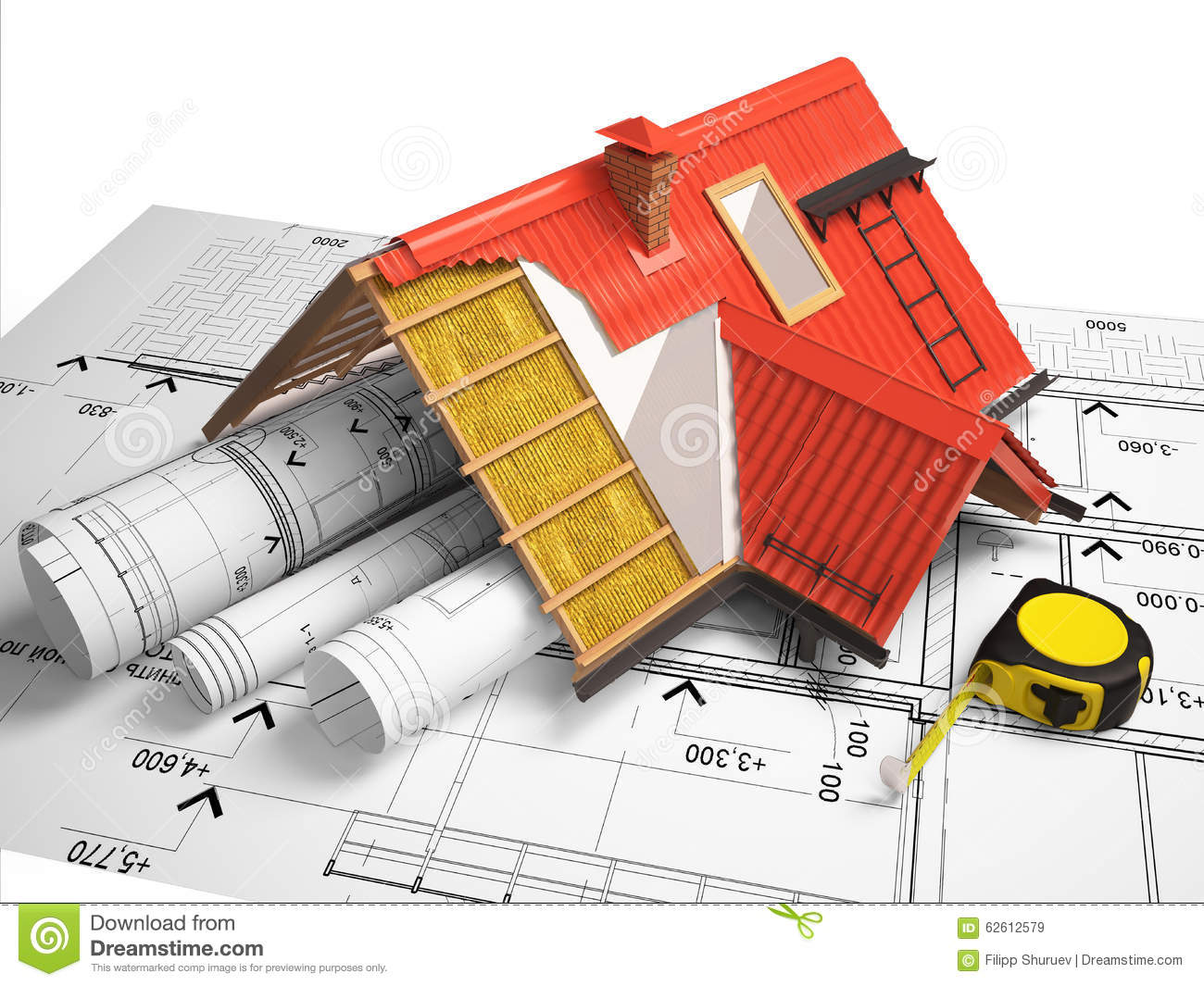 3d design of roofs on a background of drawings stock for What type of engineer designs buildings