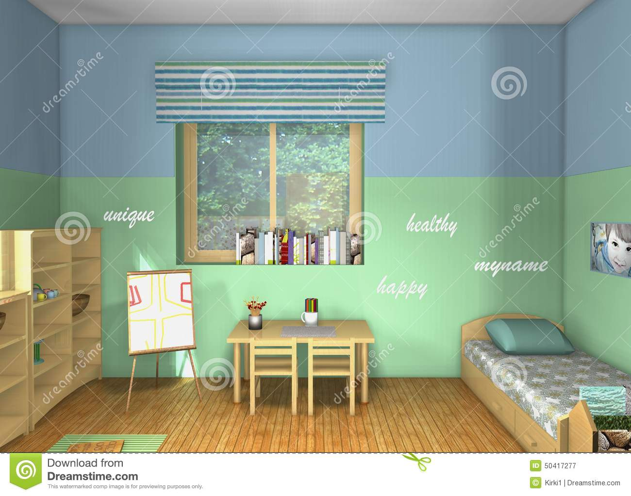 3D design. Toddlers\' room stock illustration. Image of happy ...