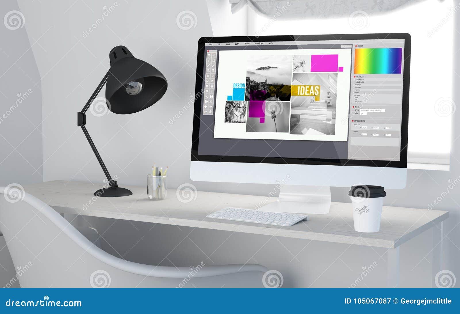 3d Desktop Workspace Rendering Graphic Design Stock Illustration Illustration Of Office Device 105067087