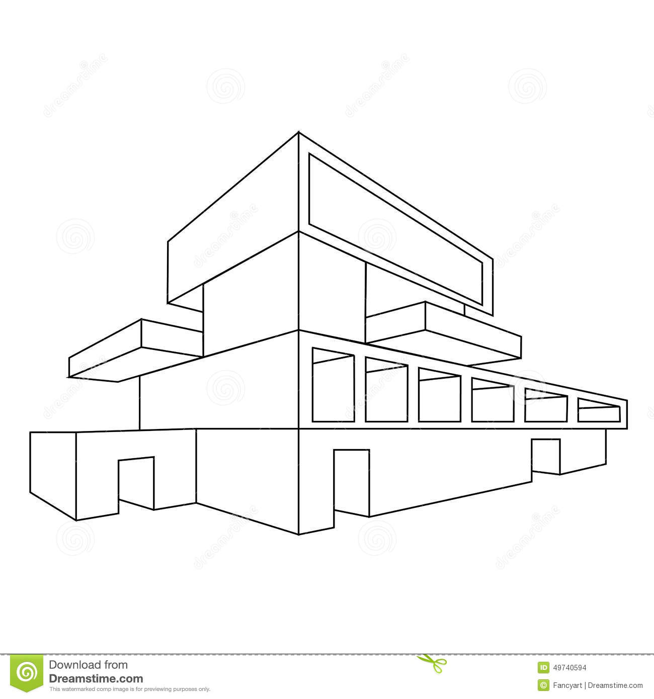 2d dessin de perspective de maison illustration de vecteur for Architecture 2d