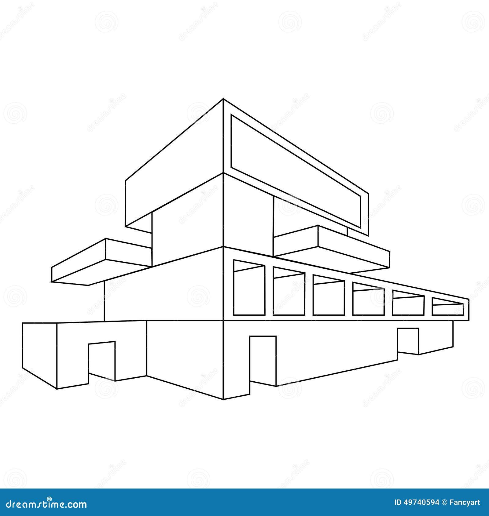 Dessins De Maison En Perspective : D dessin de perspective maison illustration vecteur