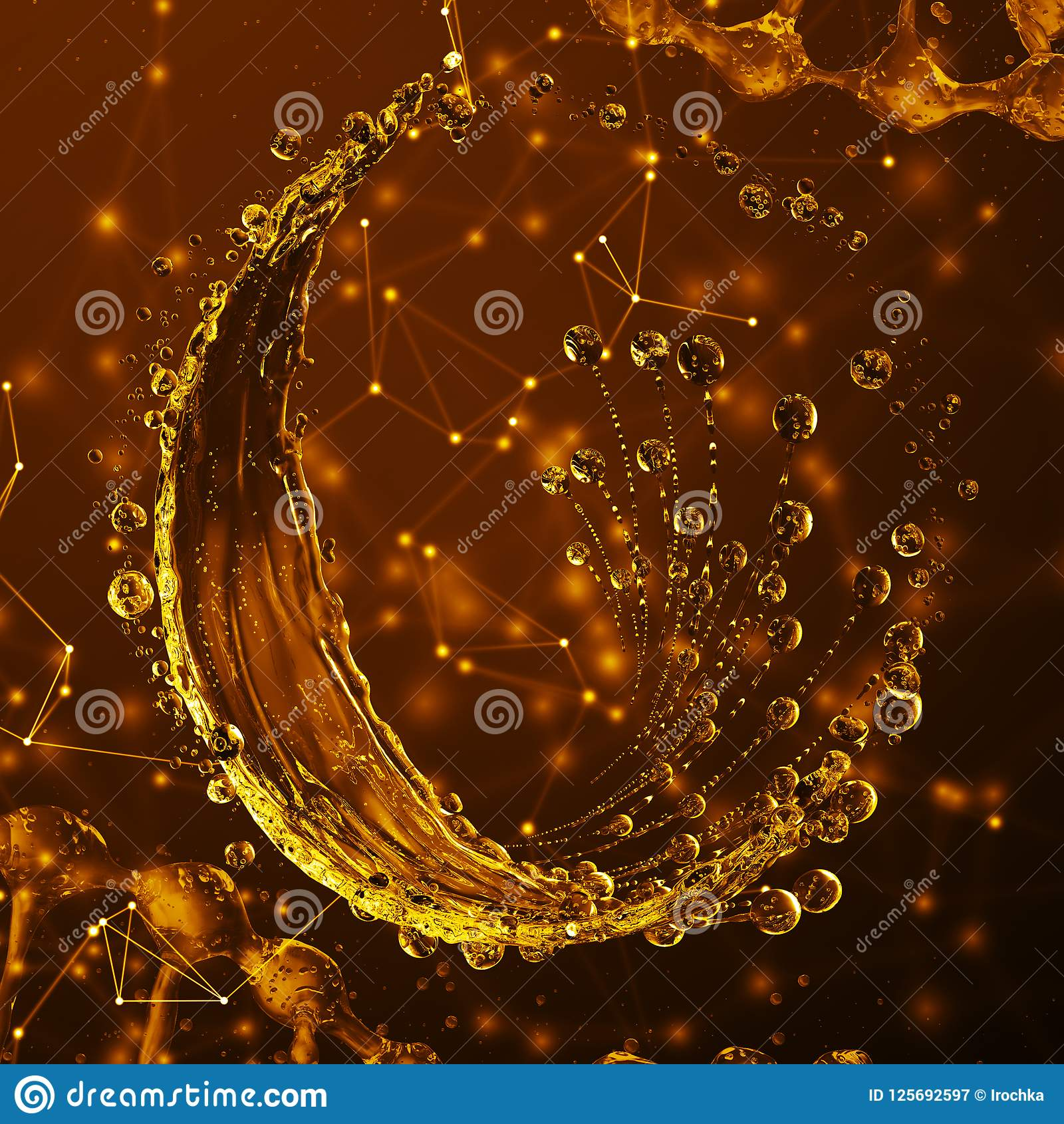 Download 3D Detailed Illustration Of A Drop Of Water Gold Color. Stock Illustration - Illustration of abstract, dynamic: 125692597