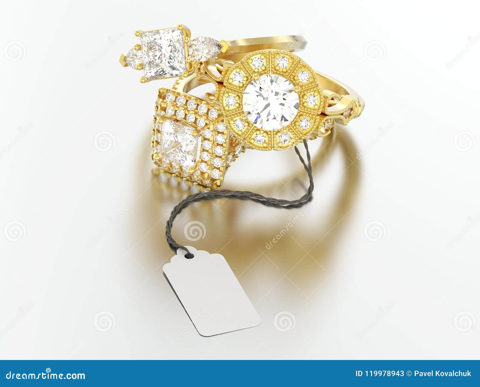 3D diamante diferente r do acoplamento do ouro amarelo da ilustração três