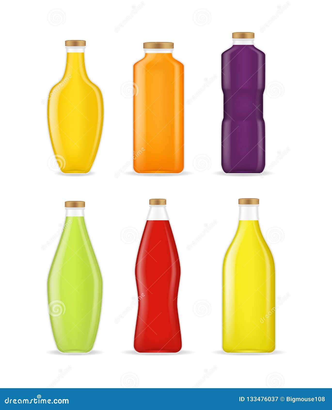 3d différents types détaillés réalistes Juice Bottle Glass Set Vecteur