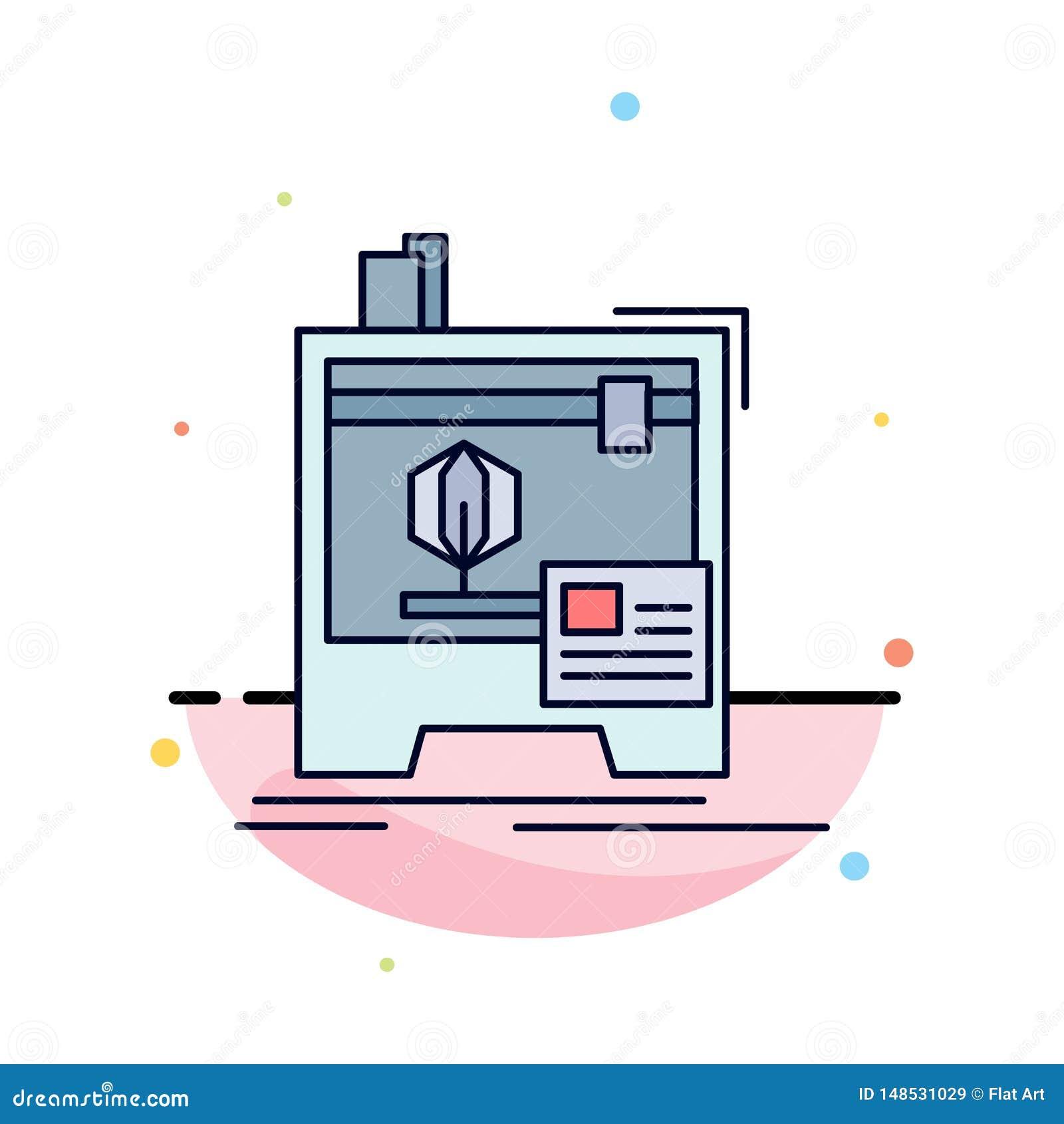 3d, dimensional, máquina, impressora, imprimindo o vetor liso do ícone da cor
