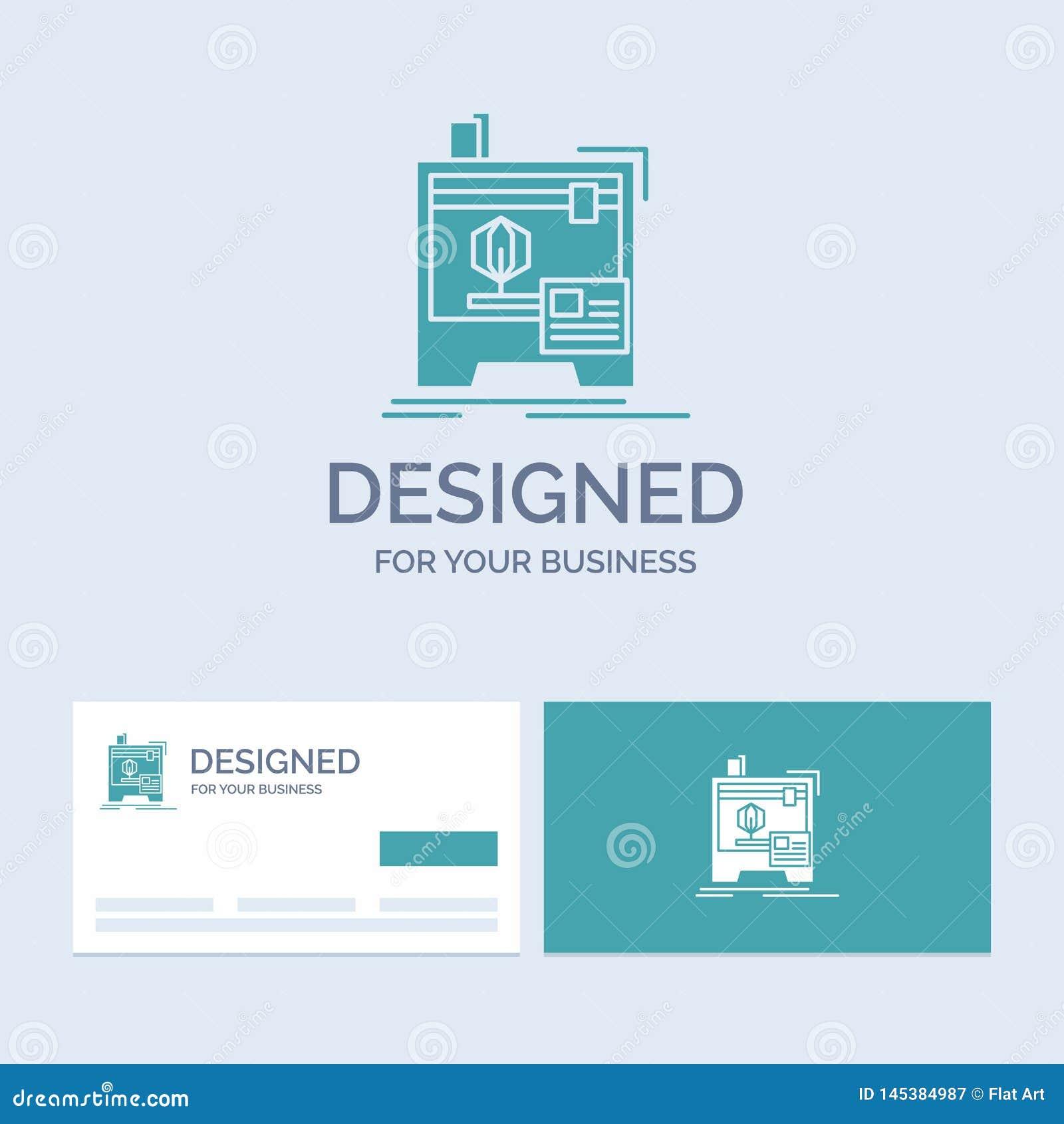 3d, dimensional, máquina, impressora, negócio de impressão Logo Glyph Icon Symbol para seu negócio Cart?es de turquesa com tipo