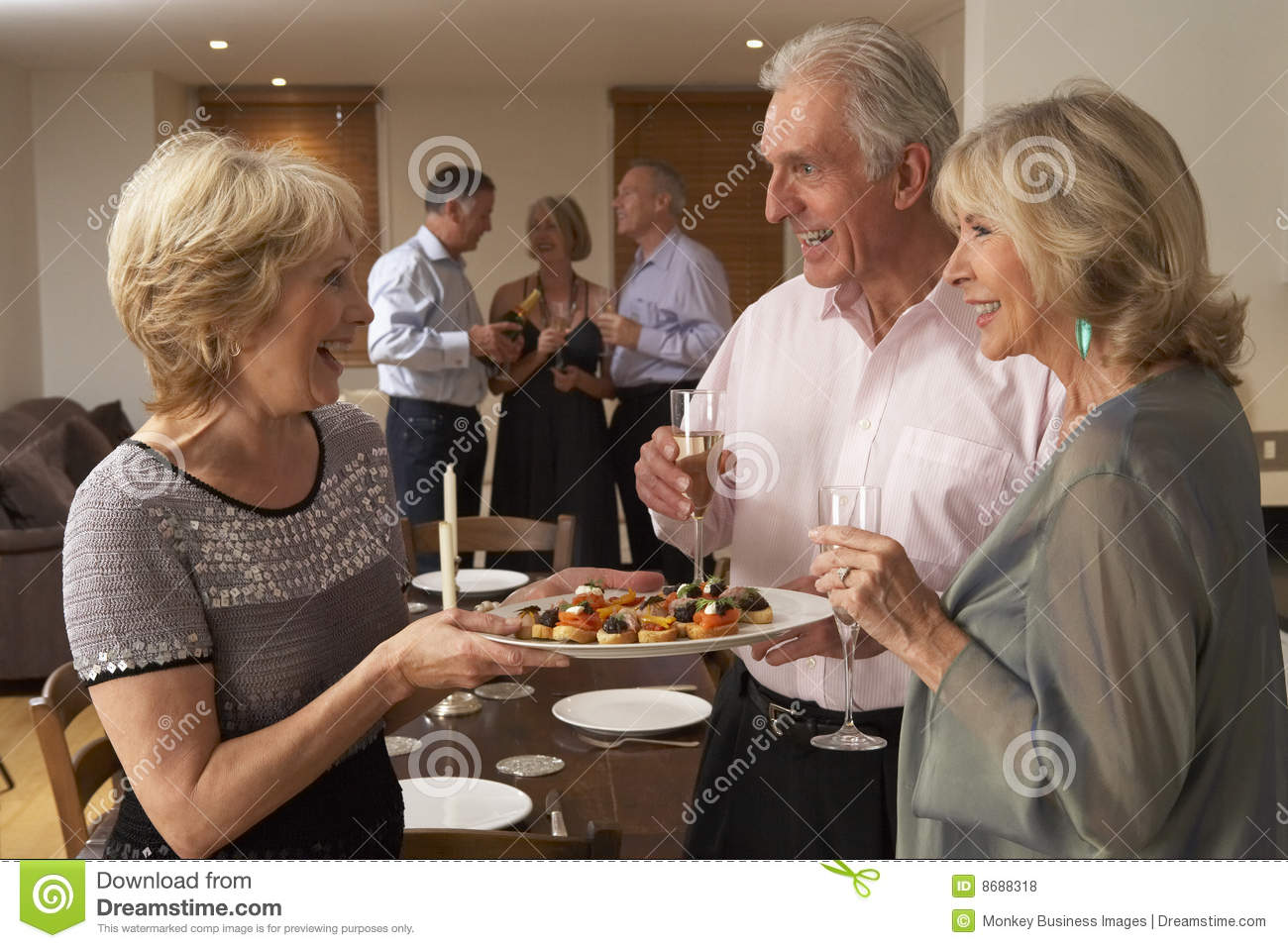 D dinner hors oeuvres party serving woman