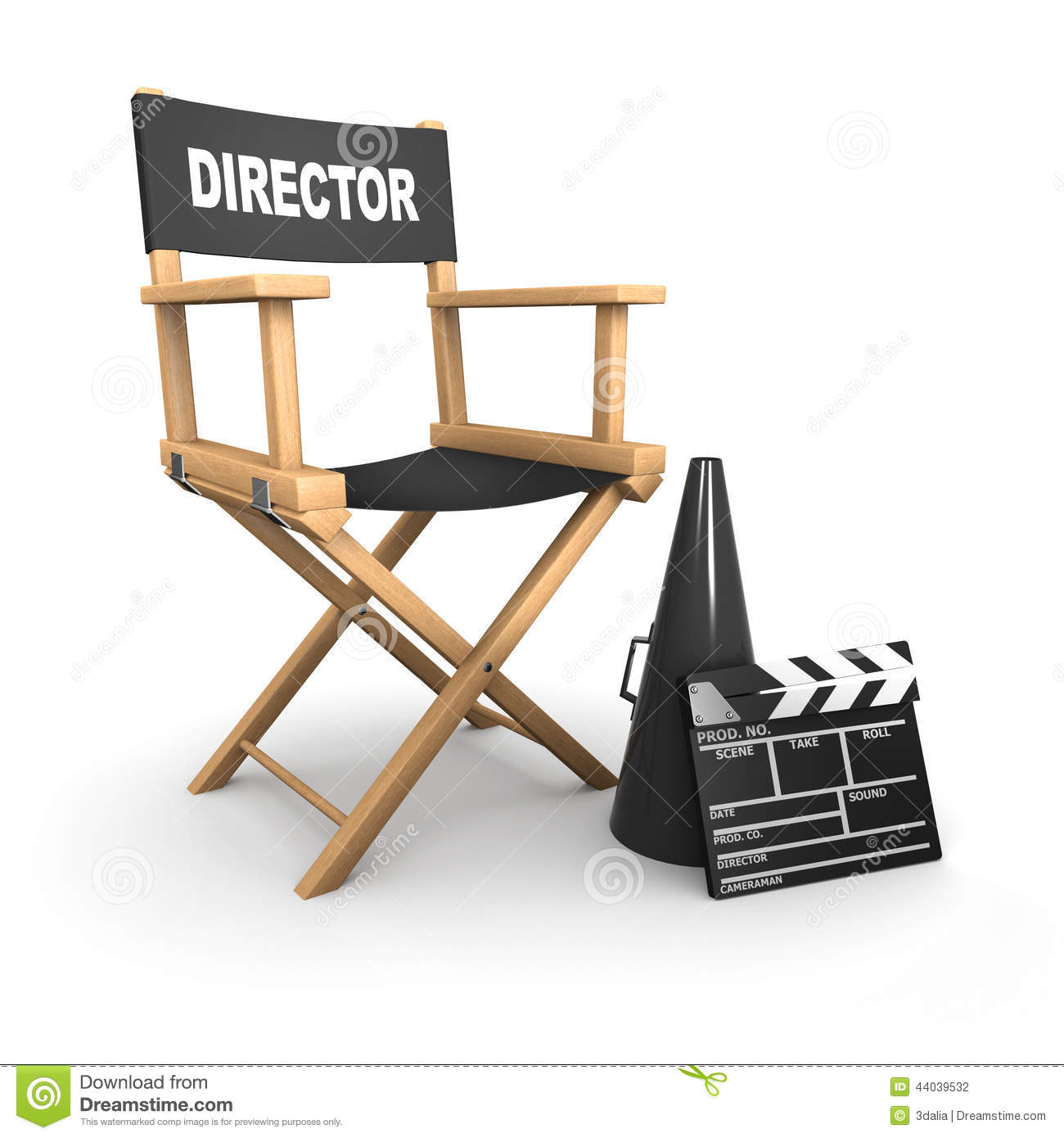 3d Directors Chair On Film Set Stock Illustration ...