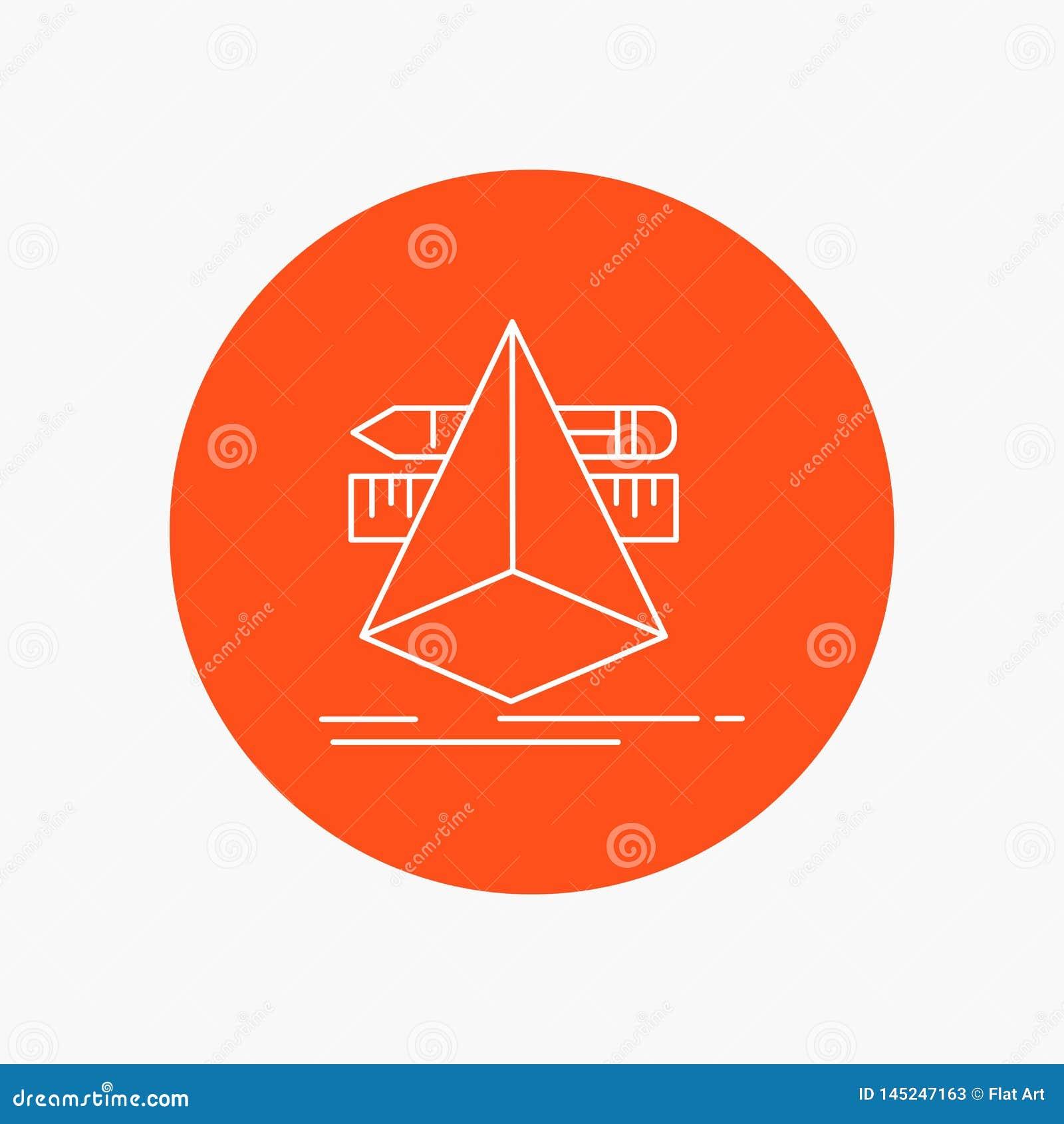 3d, diseño, diseñador, bosquejo, línea blanca icono de las herramientas en fondo del círculo Ejemplo del icono del vector