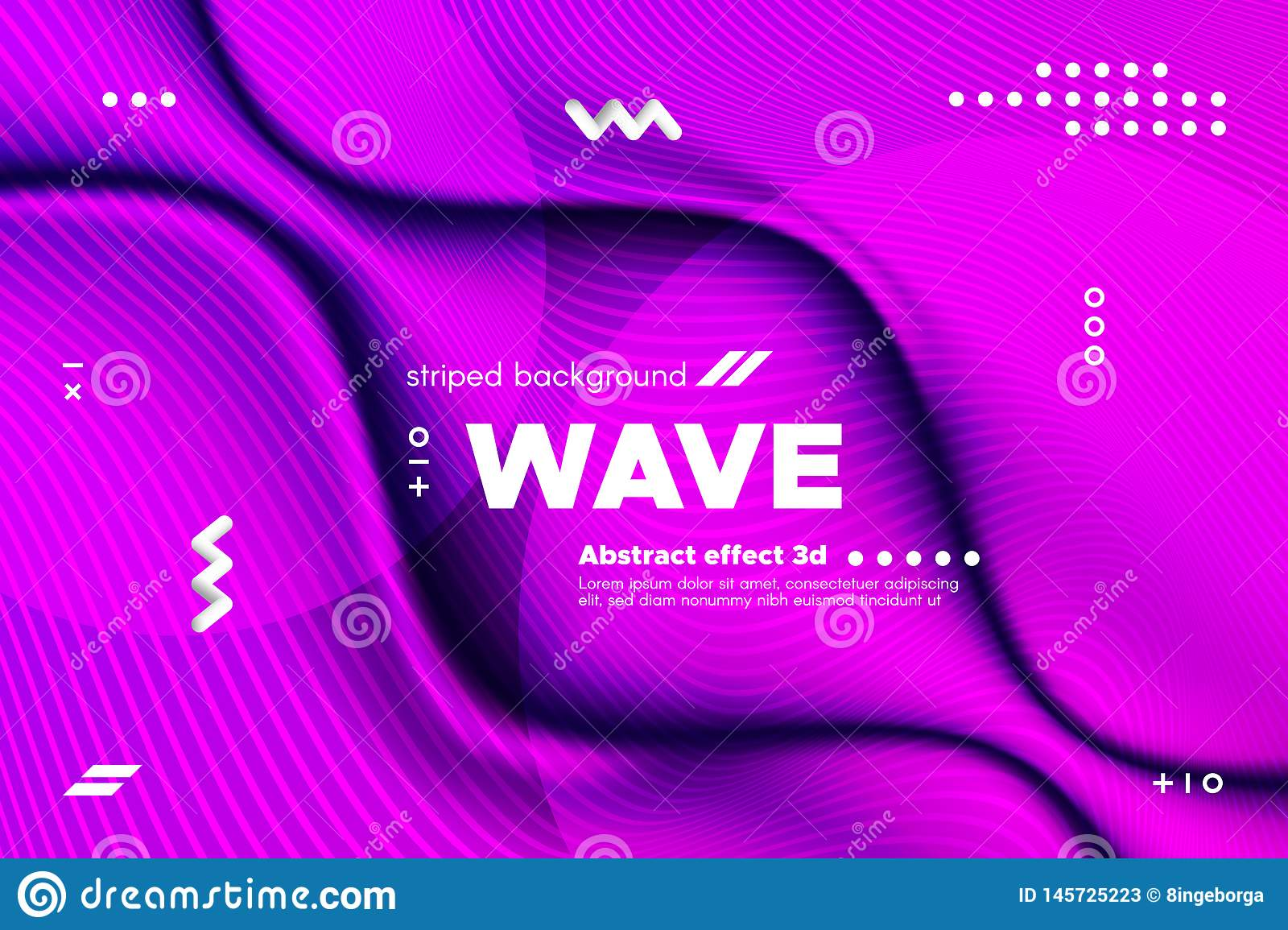 3d Distorted Wave Stripes and Ripple of Surface.