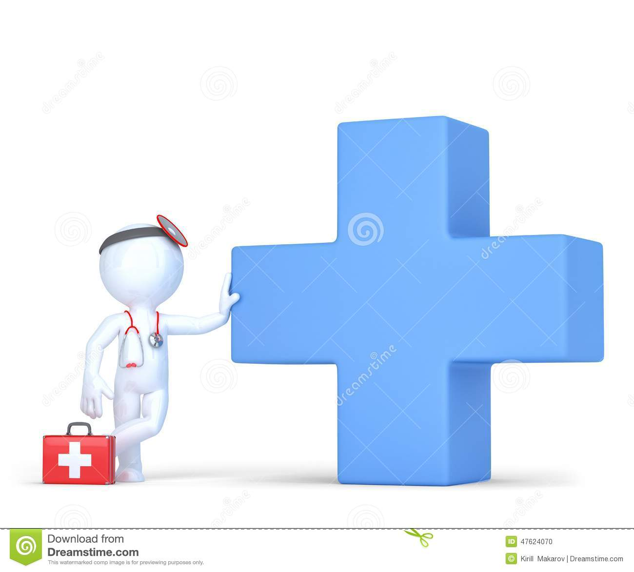 3d Doctor With Blue Medical Cross Symbol  Isolated  Contains