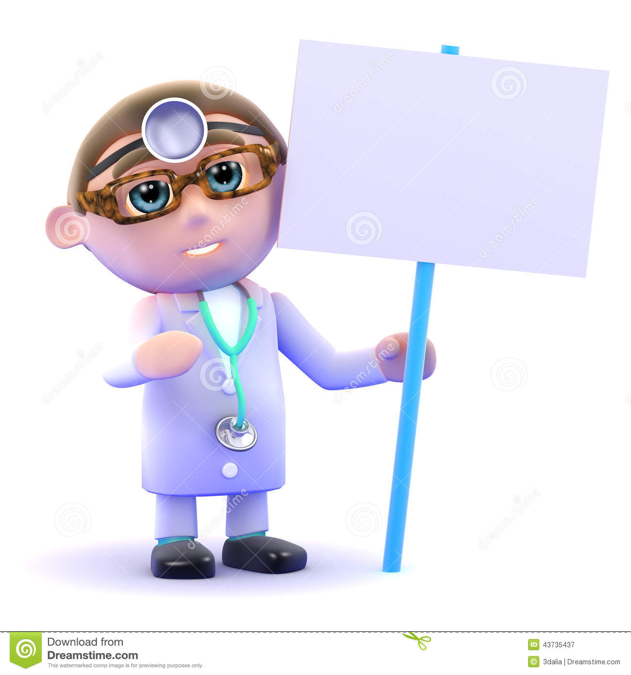 3d Doctor with a placard