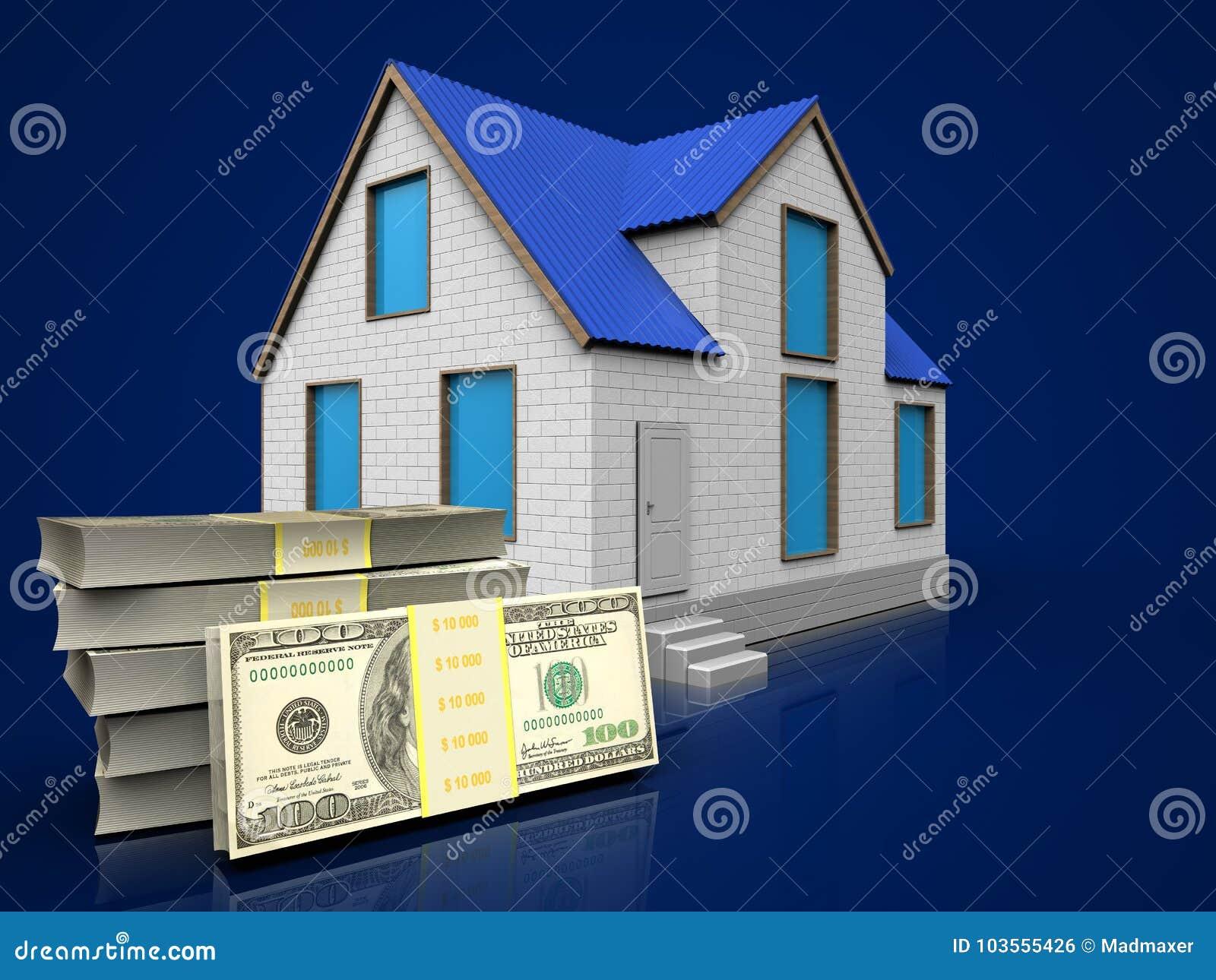 3d dollars over dark blue