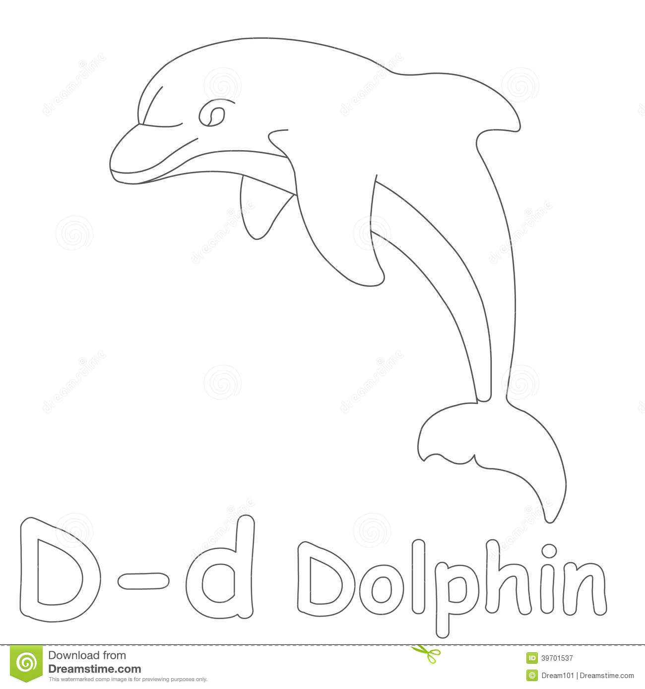 d for dolphin coloring page stock illustration image 39701537