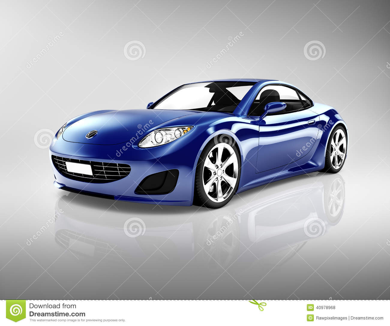 3D Donkerblauwe Sportwagen