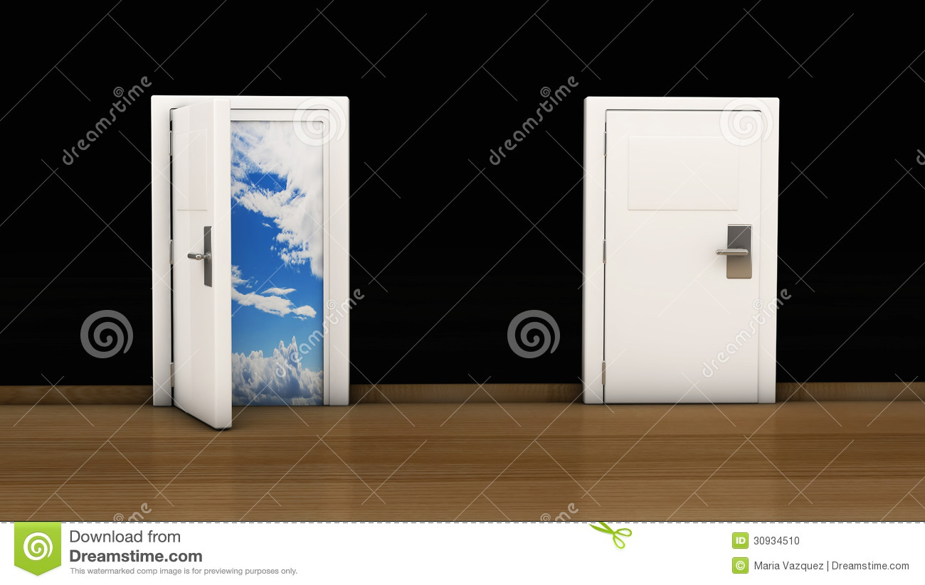 Open door closed door - 3d Door Open And Close Stock Photo