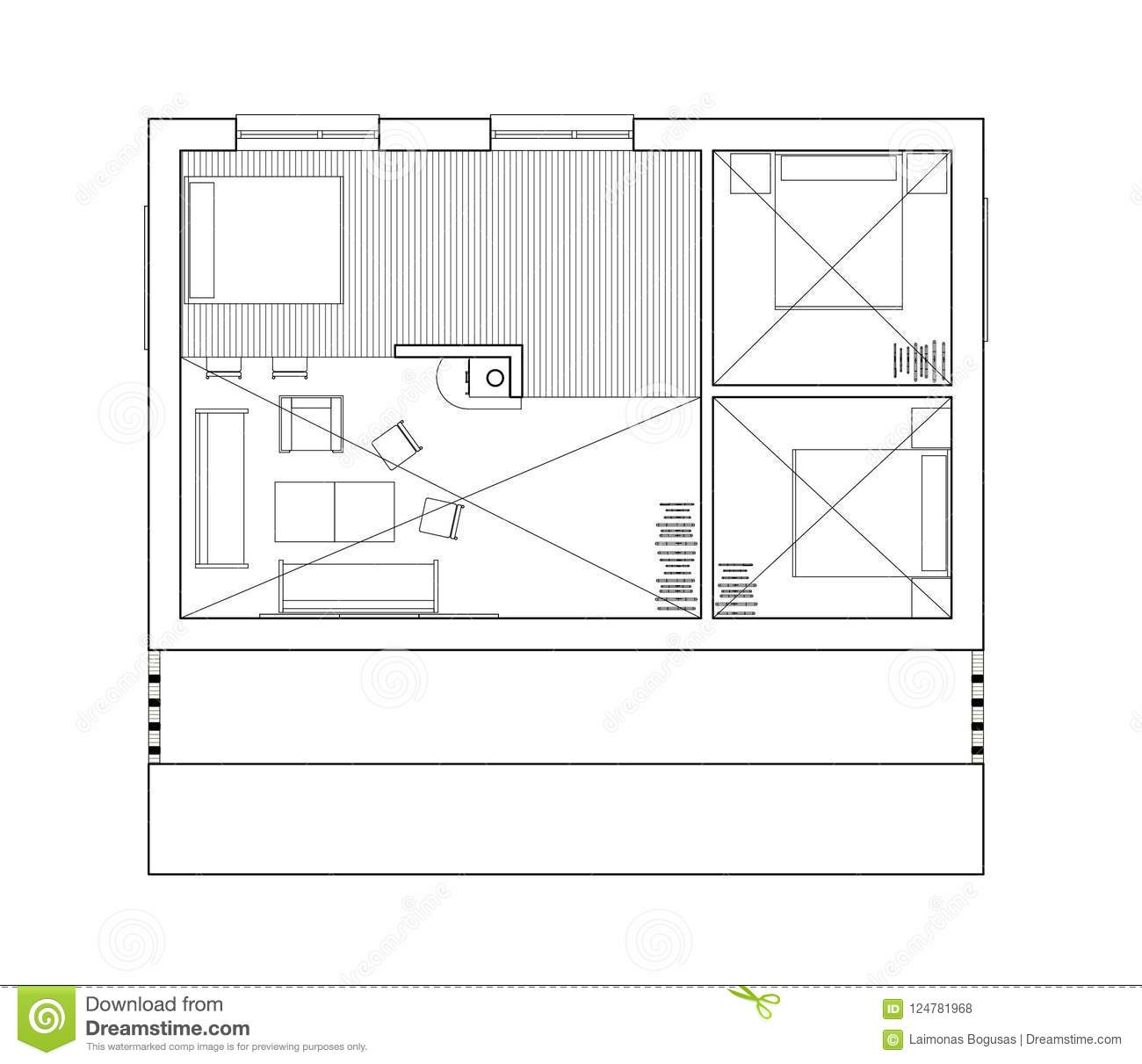 2d Drawing Isolated Floor Plan Of The Single Family House Stock