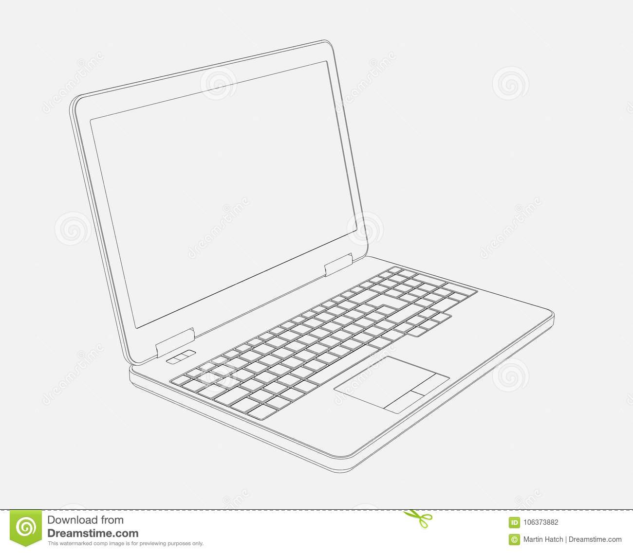 3d drawing of laptop computer stock illustration