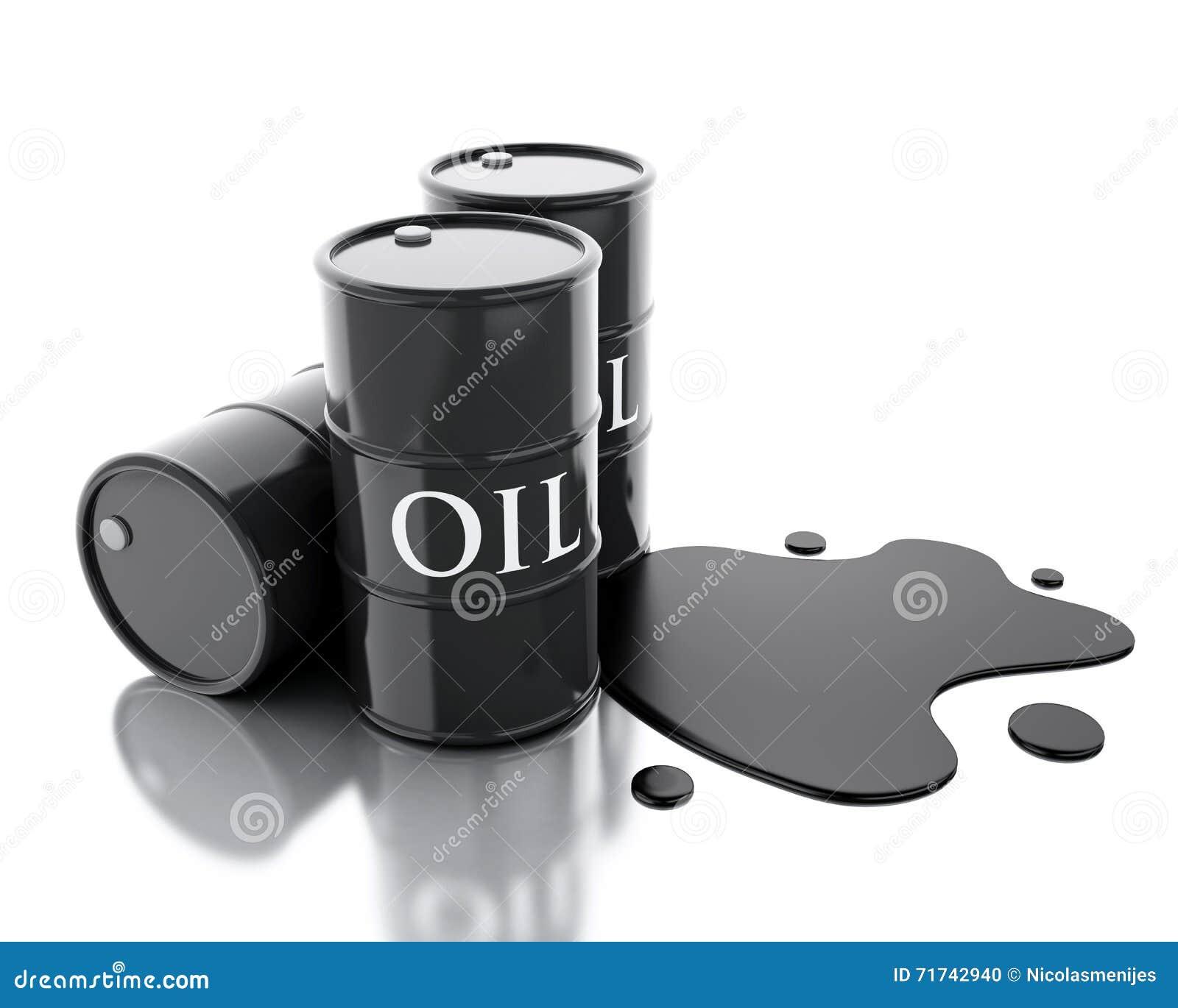 3d drei Barrel Erdöle verschüttet